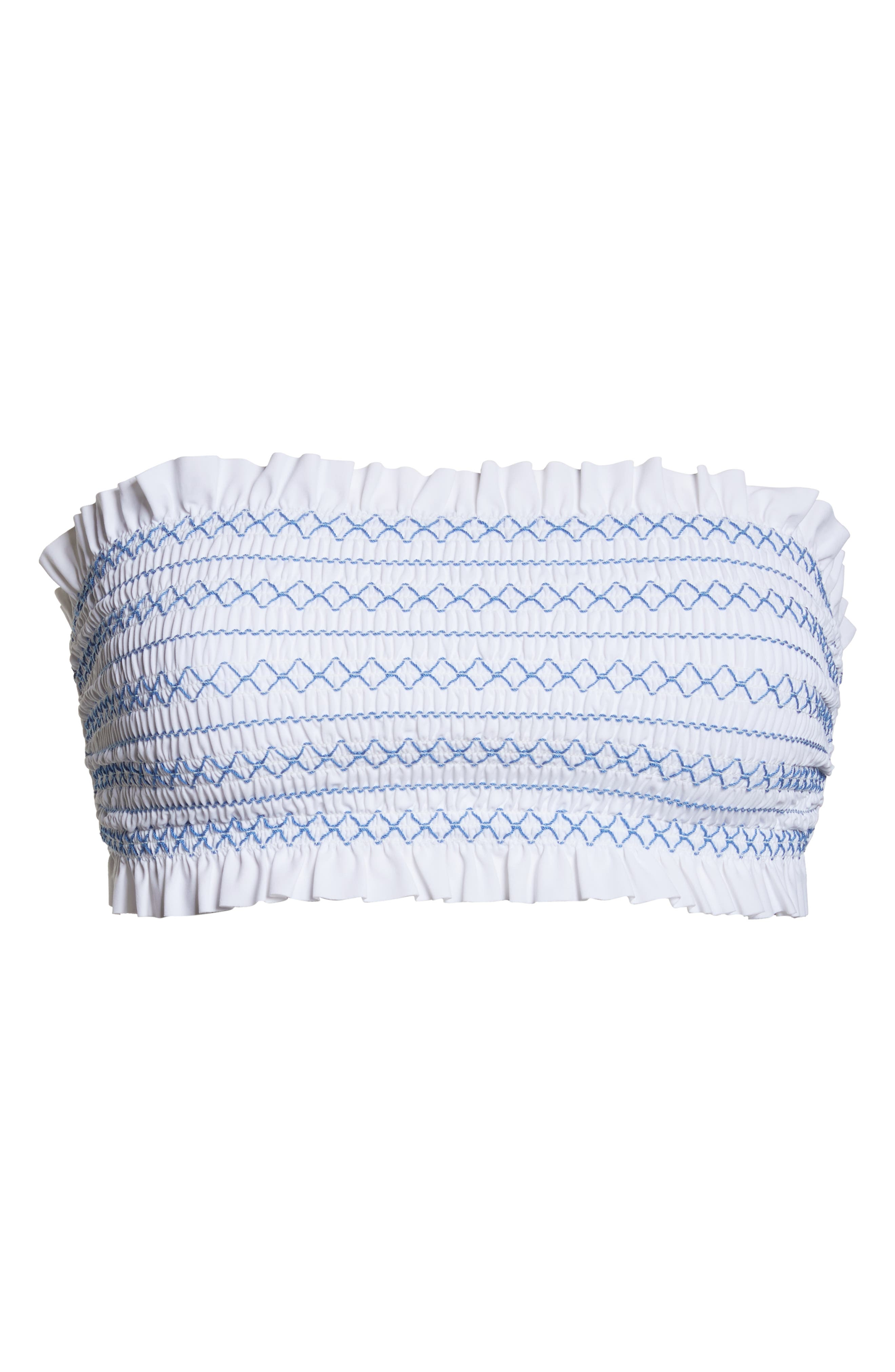 Costa Bandeau Bikini Top,                             Alternate thumbnail 6, color,                             WHITE / BLUE DUSK