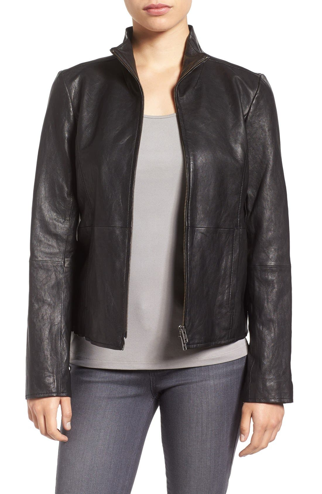 Rumpled Luxe Leather Stand Collar Jacket,                             Main thumbnail 1, color,                             001