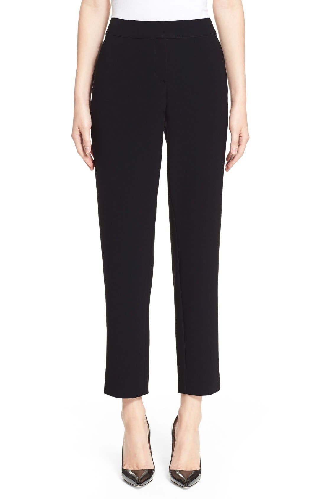 'Emma' Crop Crepe Marocain Pants,                             Main thumbnail 1, color,                             CAVIAR