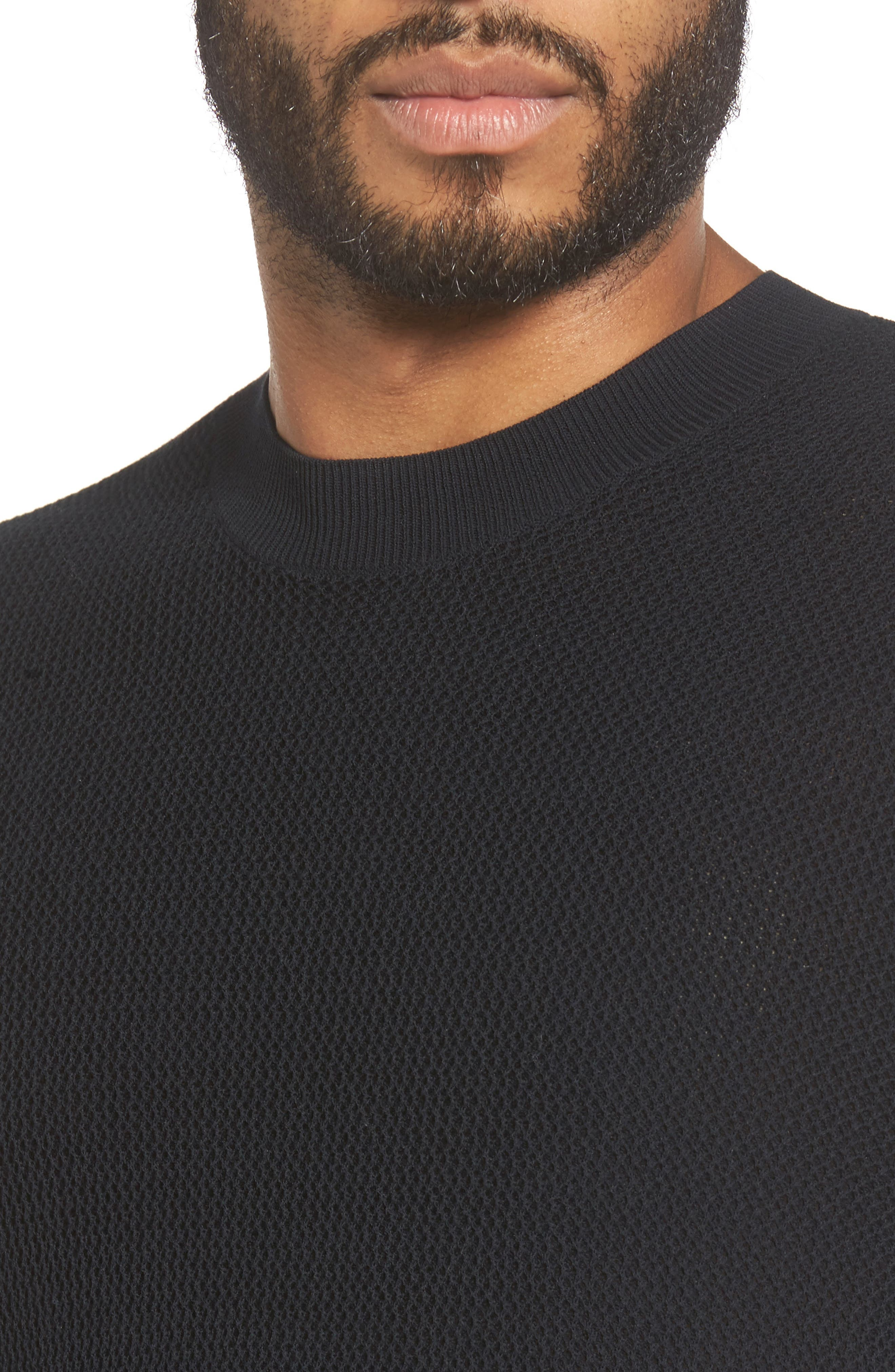 Mesh Crewneck Sweater,                             Alternate thumbnail 4, color,                             001
