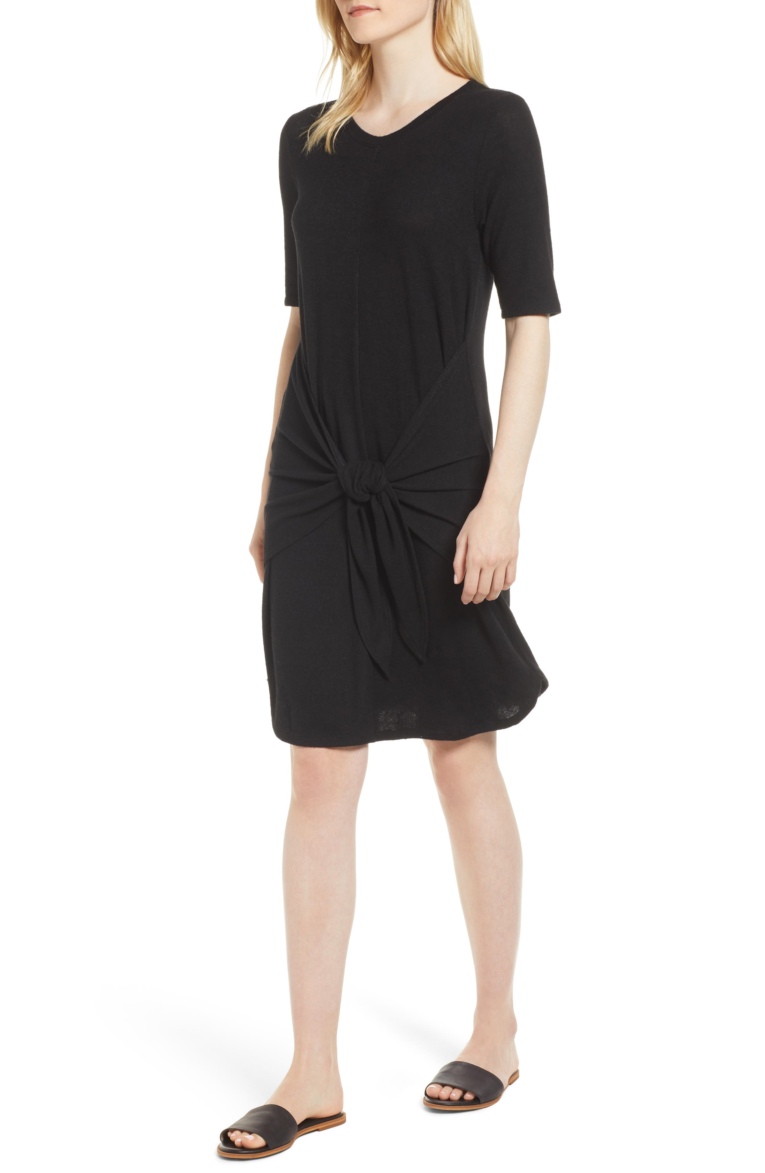 Caslon Off-Duty Tie Front Knit Dress,                         Main,                         color, 001