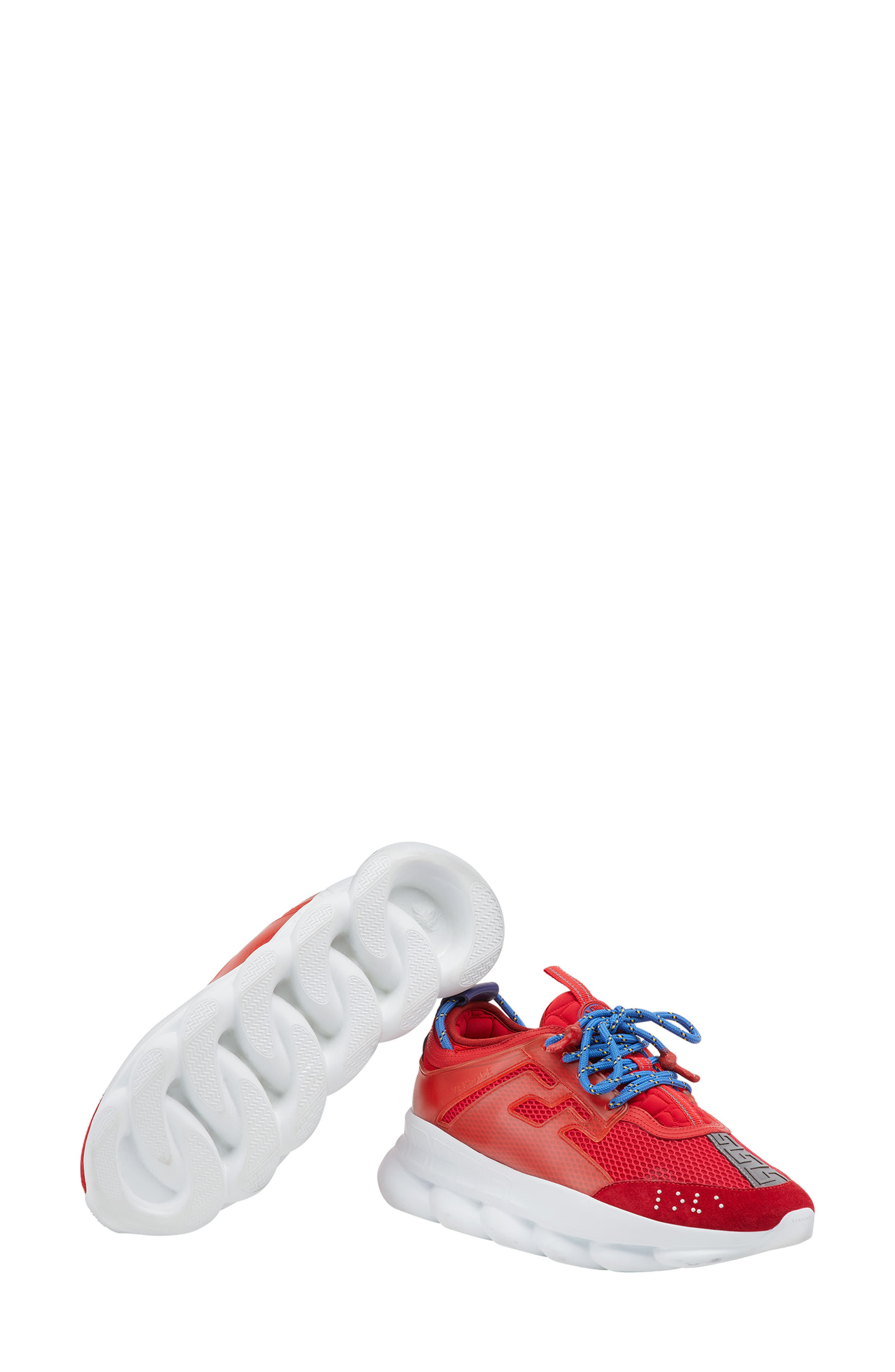 Versace Chain Reaction Sneaker,                             Alternate thumbnail 4, color,                             RED