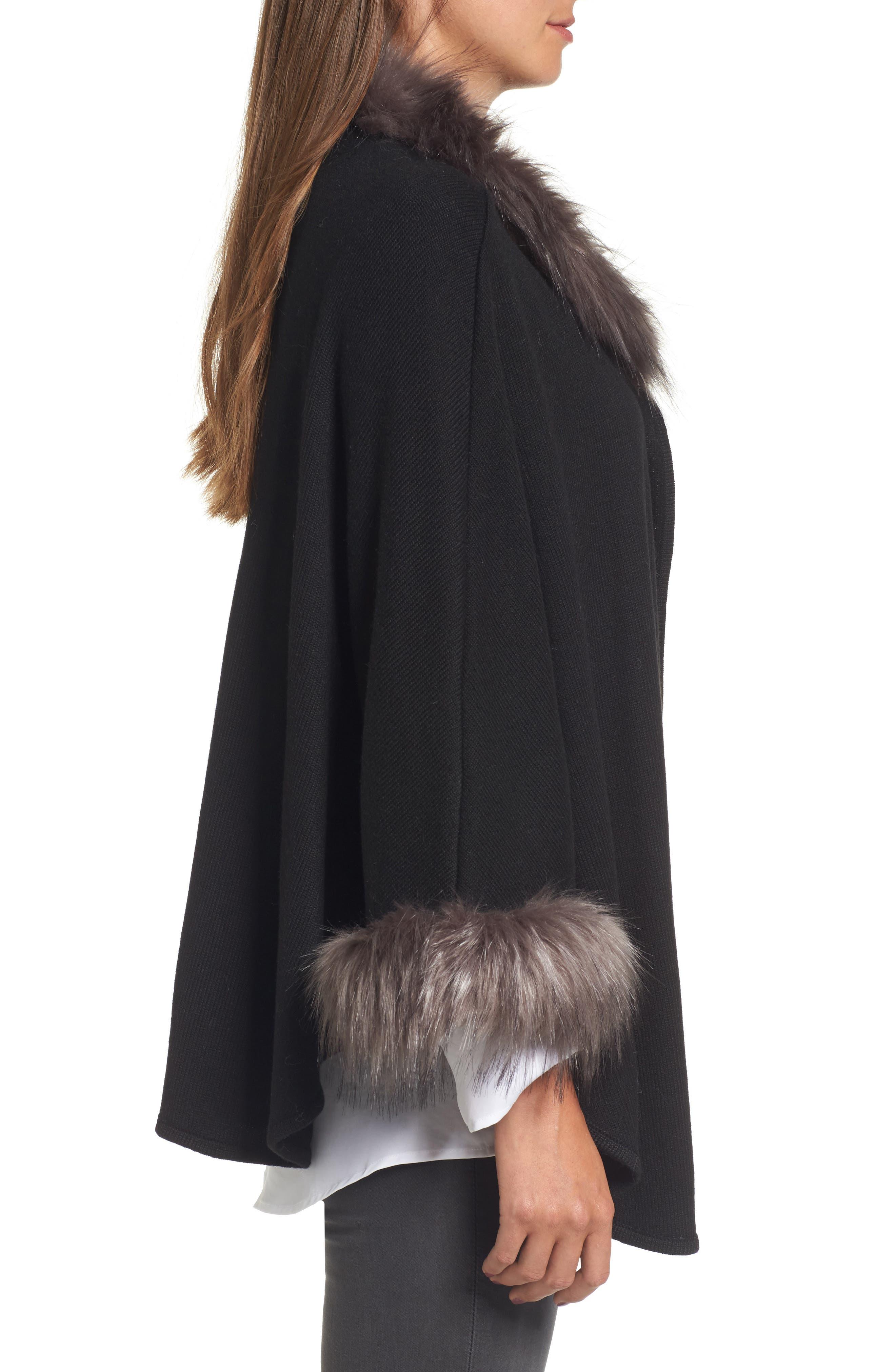 Knit Poncho with Faux Fur Trim,                             Alternate thumbnail 3, color,                             001