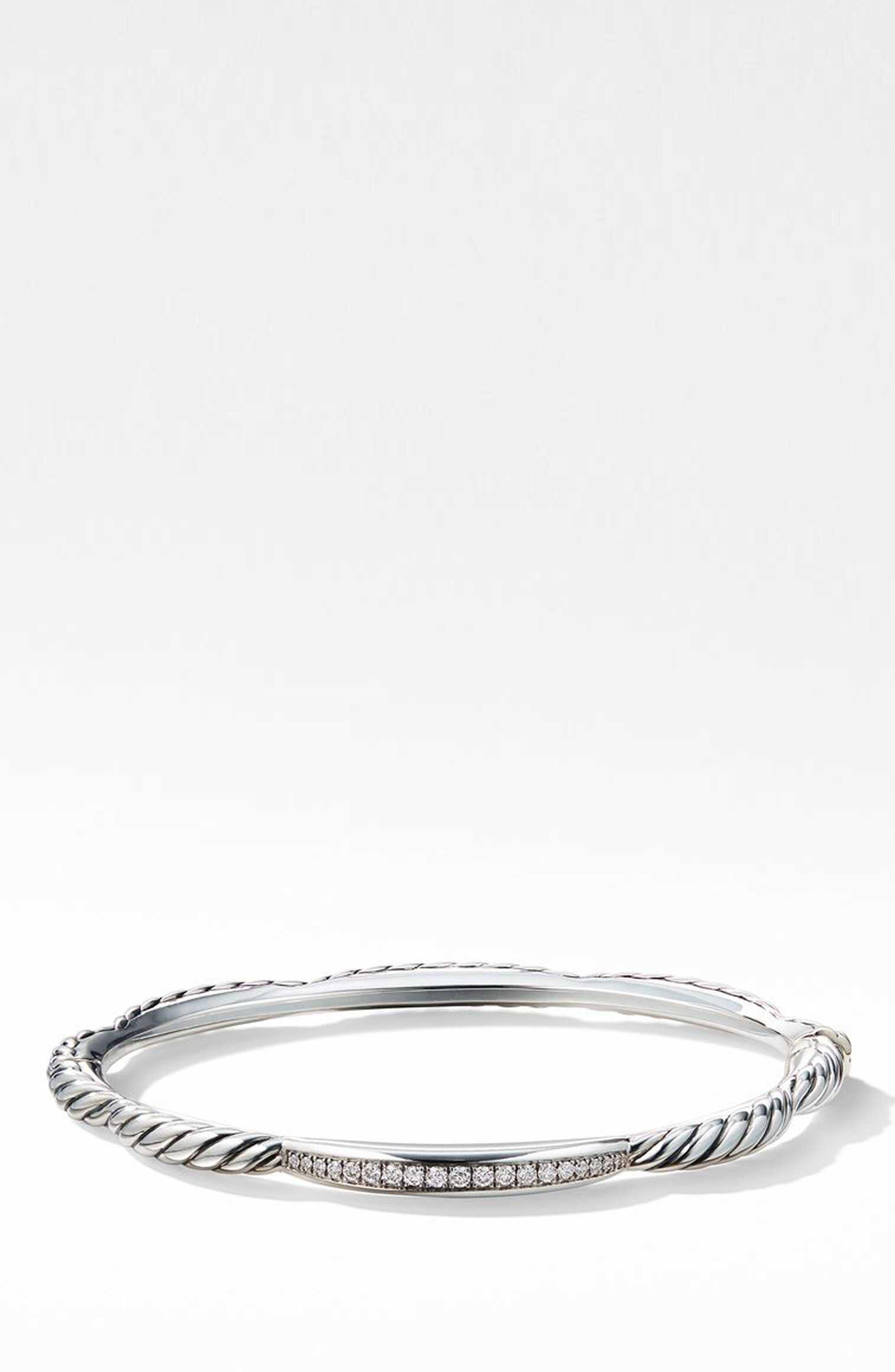 Tides Single Station Bracelet with Diamonds,                             Main thumbnail 1, color,                             STERLING SILVER/ DIAMOND