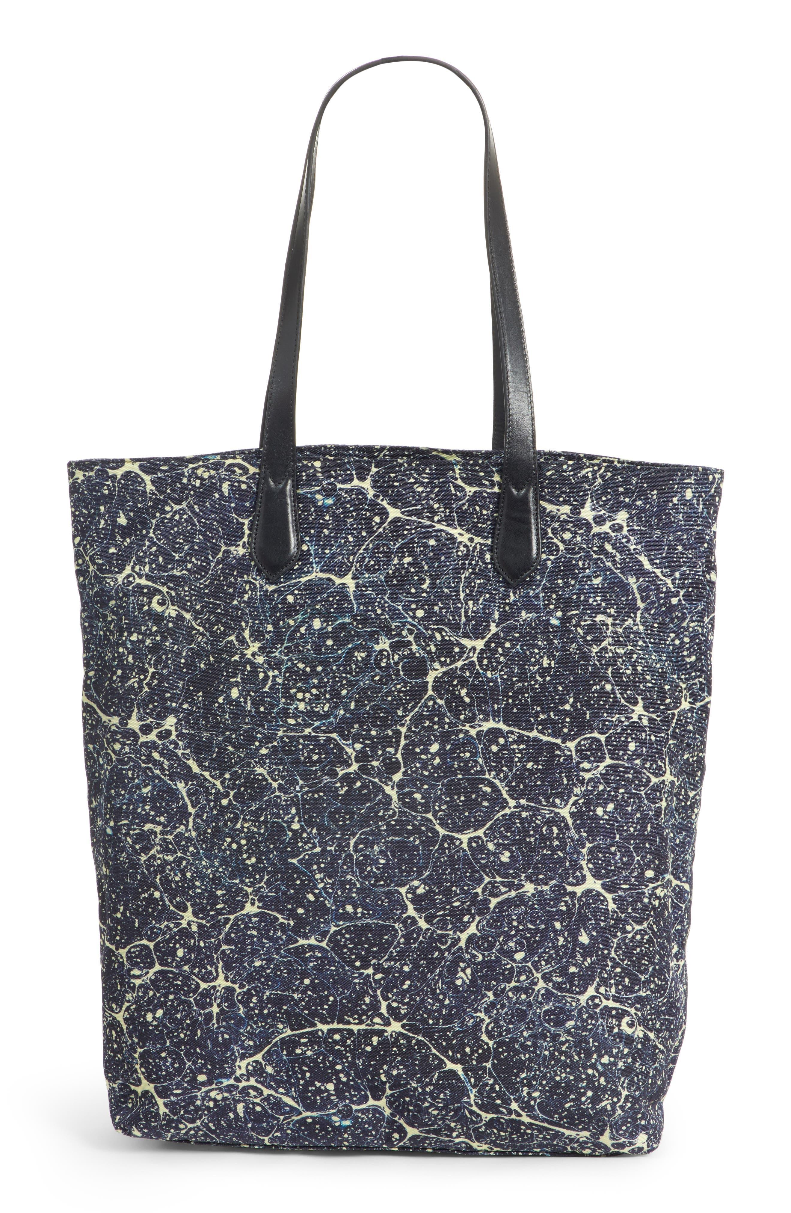 Marble Splatter Print Tote,                         Main,                         color, BLUE