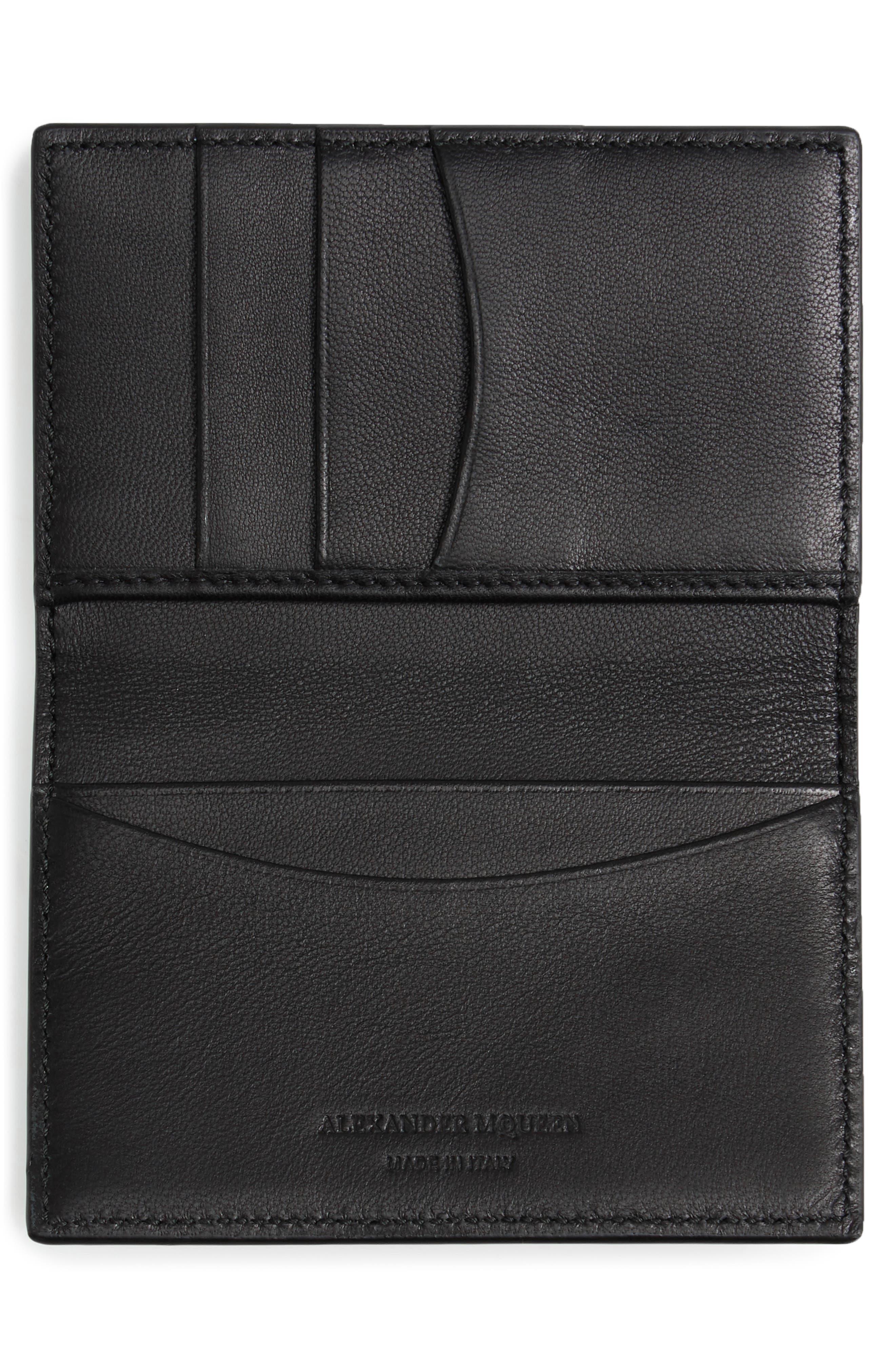 Studs & Skull Leather Card Case,                             Alternate thumbnail 2, color,                             001