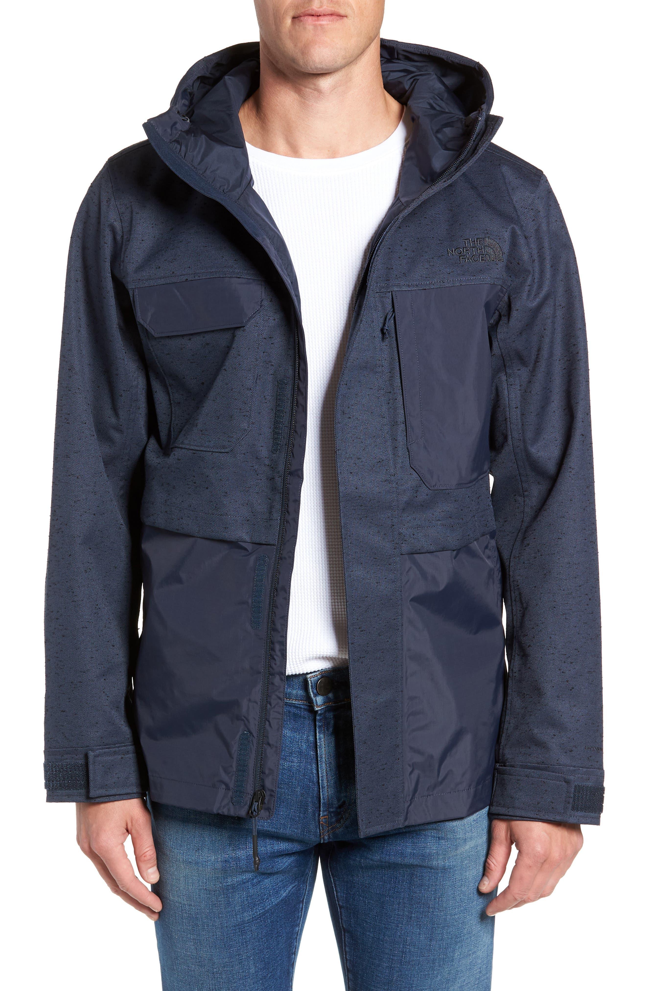 Zoomie Rain Jacket, Main, color, URBAN NAVY SLUB