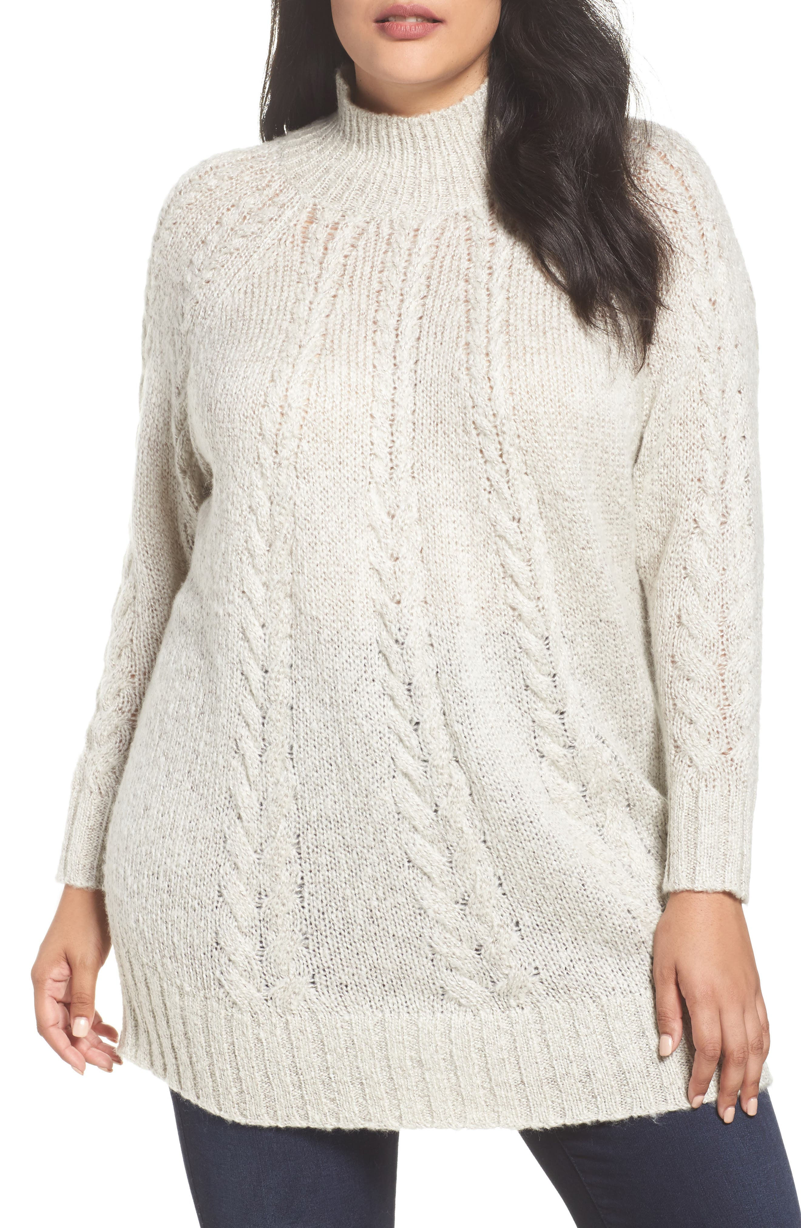 Cable Knit Tunic Sweater,                             Main thumbnail 1, color,                             BEIGE OATMEAL LIGHT HEATHER