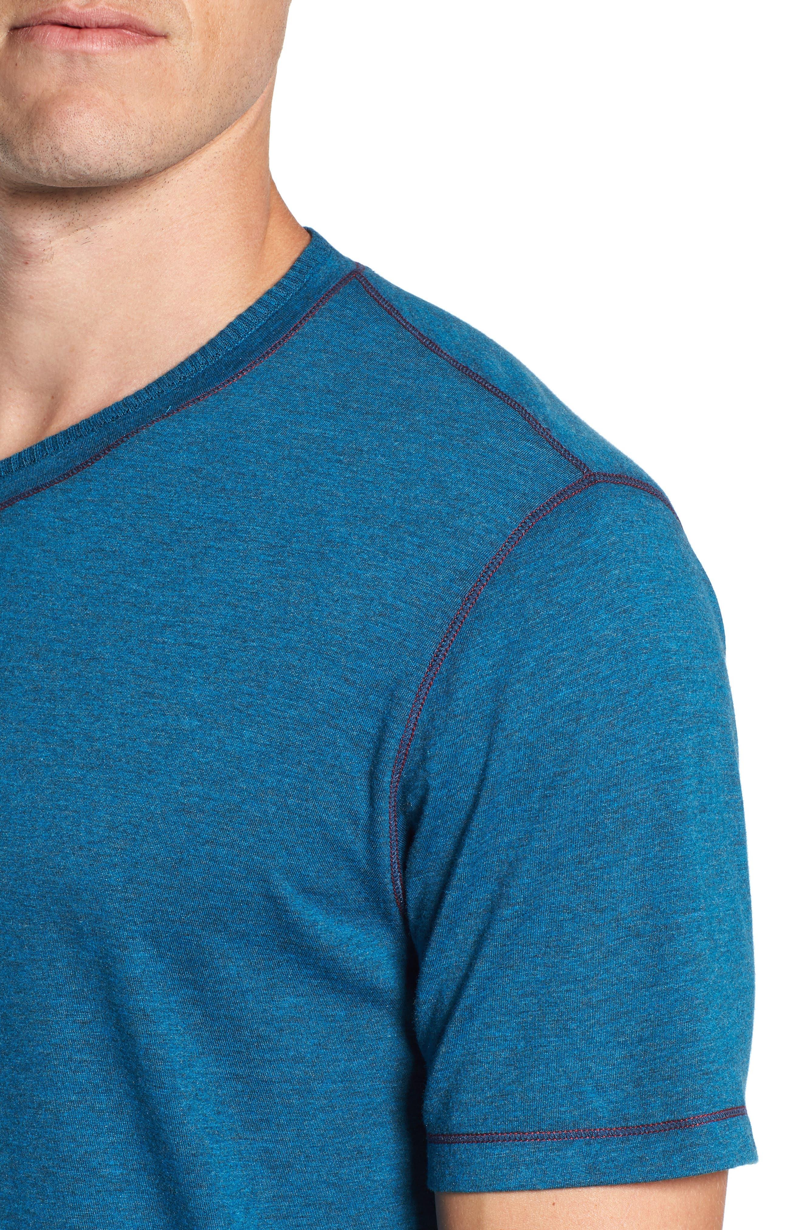 Traveler V-Neck T-Shirt,                             Alternate thumbnail 4, color,                             DARK TEAL