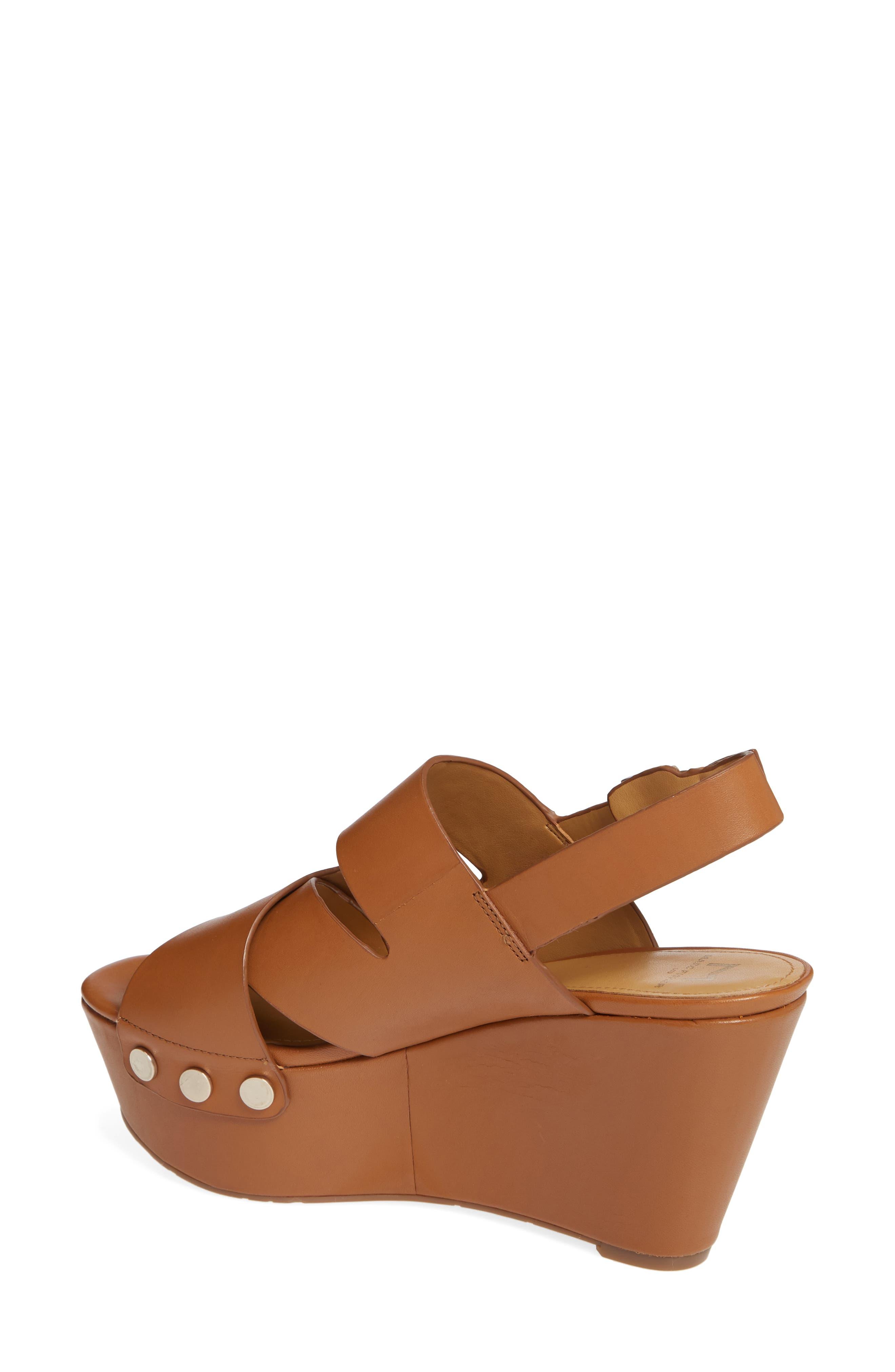 Bianka Platform Wedge Sandal,                             Alternate thumbnail 2, color,                             GINGER SNAP LEATHER