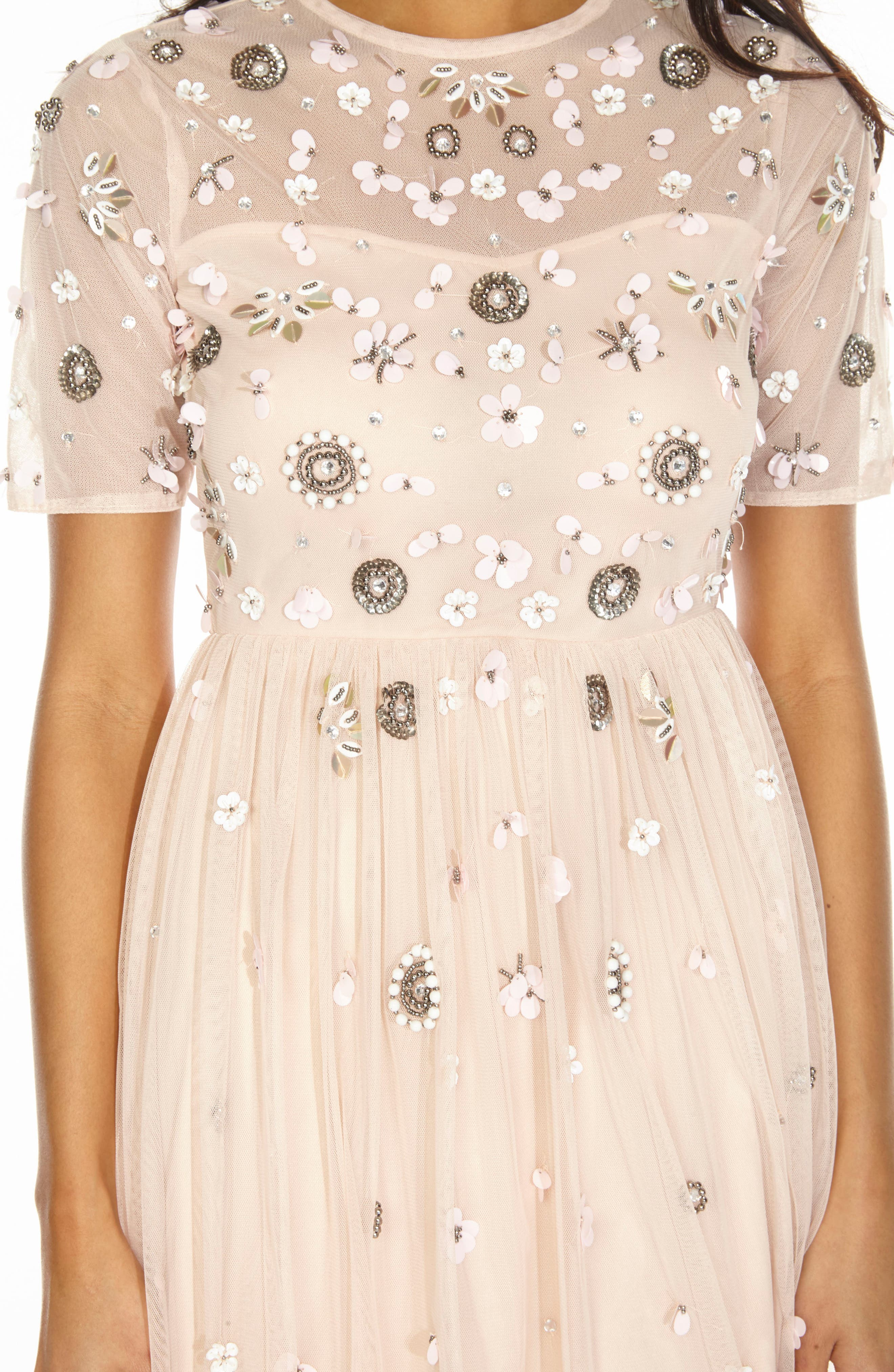 Baby Sequin Midi Dress,                             Alternate thumbnail 3, color,                             NUDE