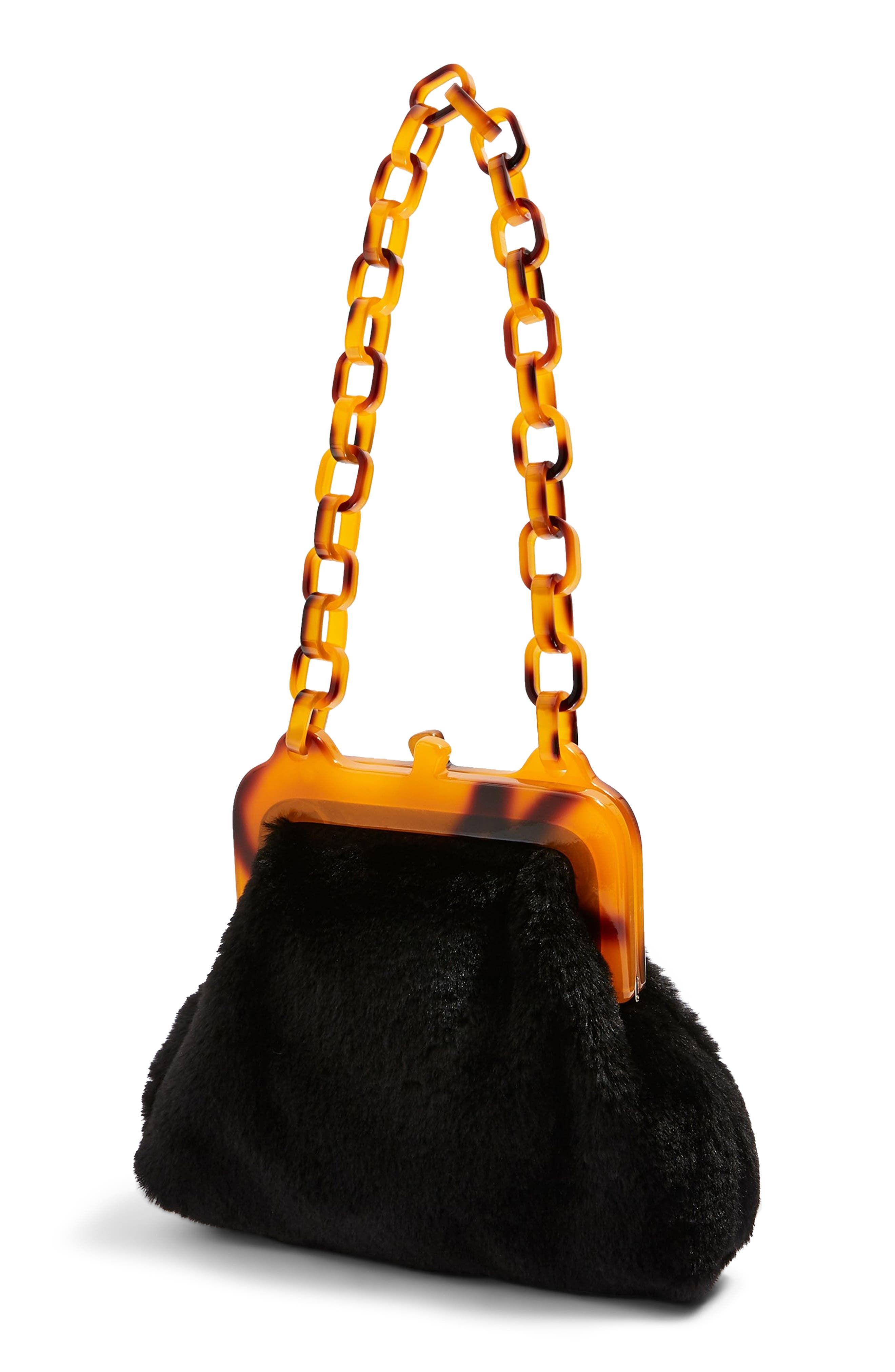 Faux Fur Frame Bag,                             Alternate thumbnail 3, color,                             BLACK