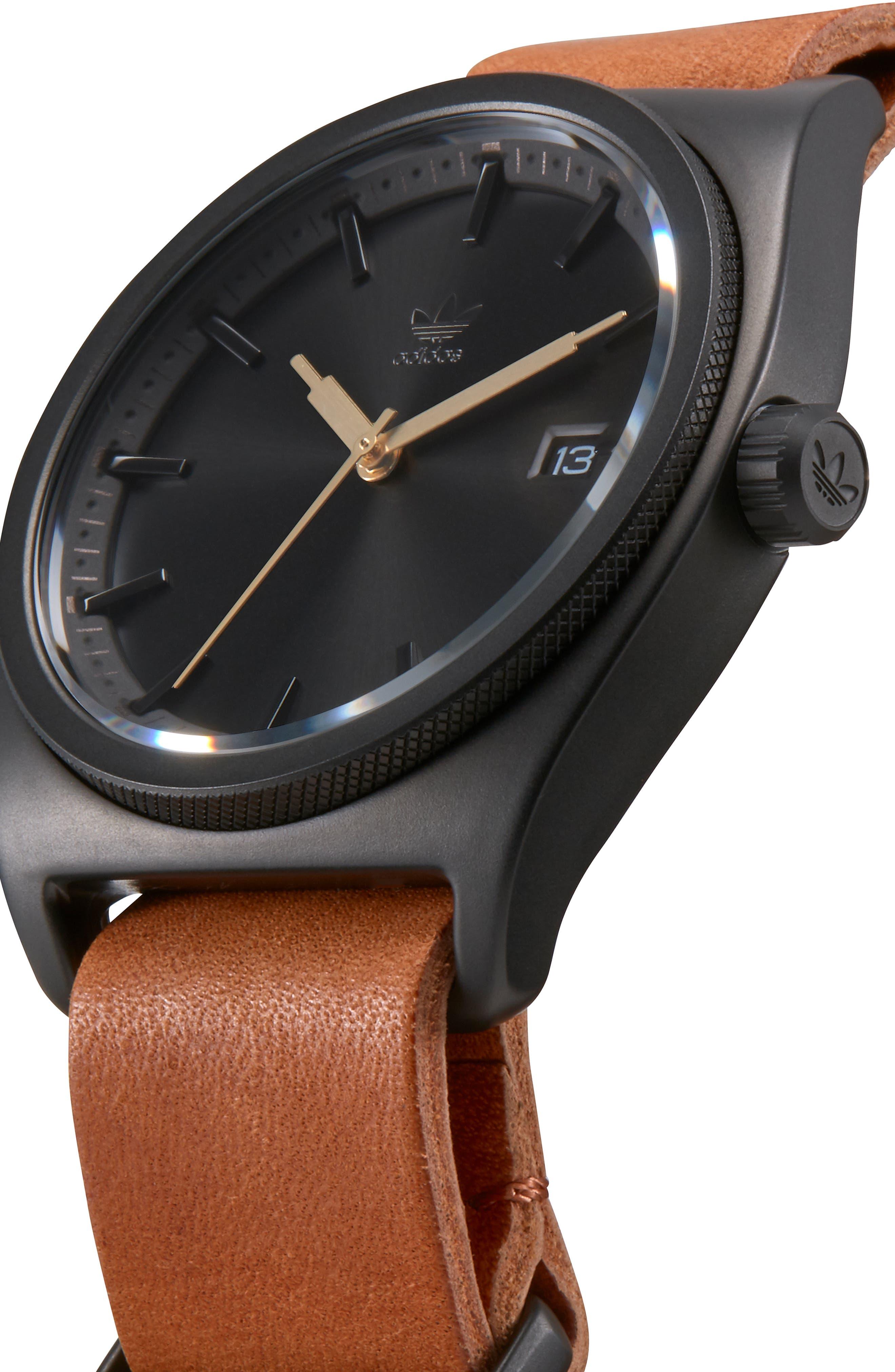 Process Interchangeable Strap Watch, 40mm,                             Alternate thumbnail 5, color,                             BLACK/ TAN