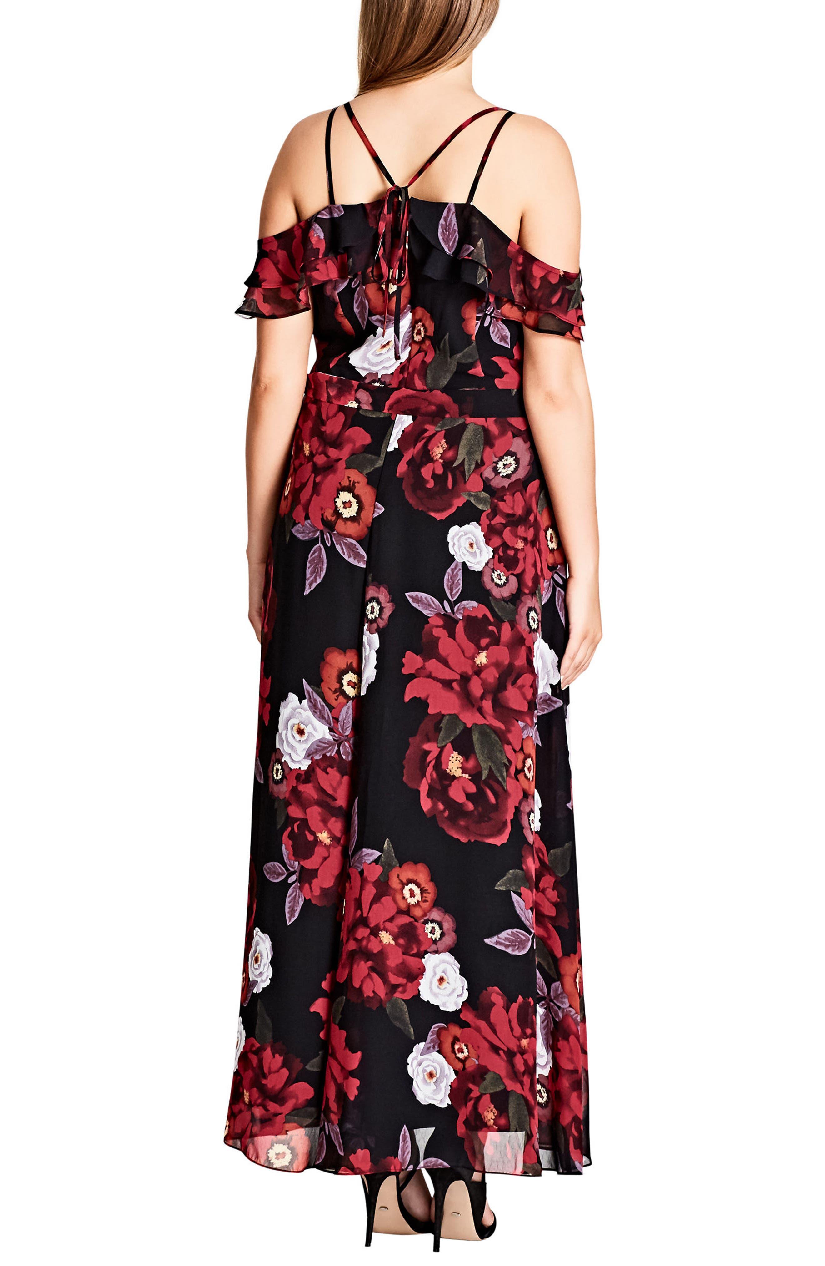 Chic City Rich Rose Maxi Dress,                             Alternate thumbnail 2, color,                             001