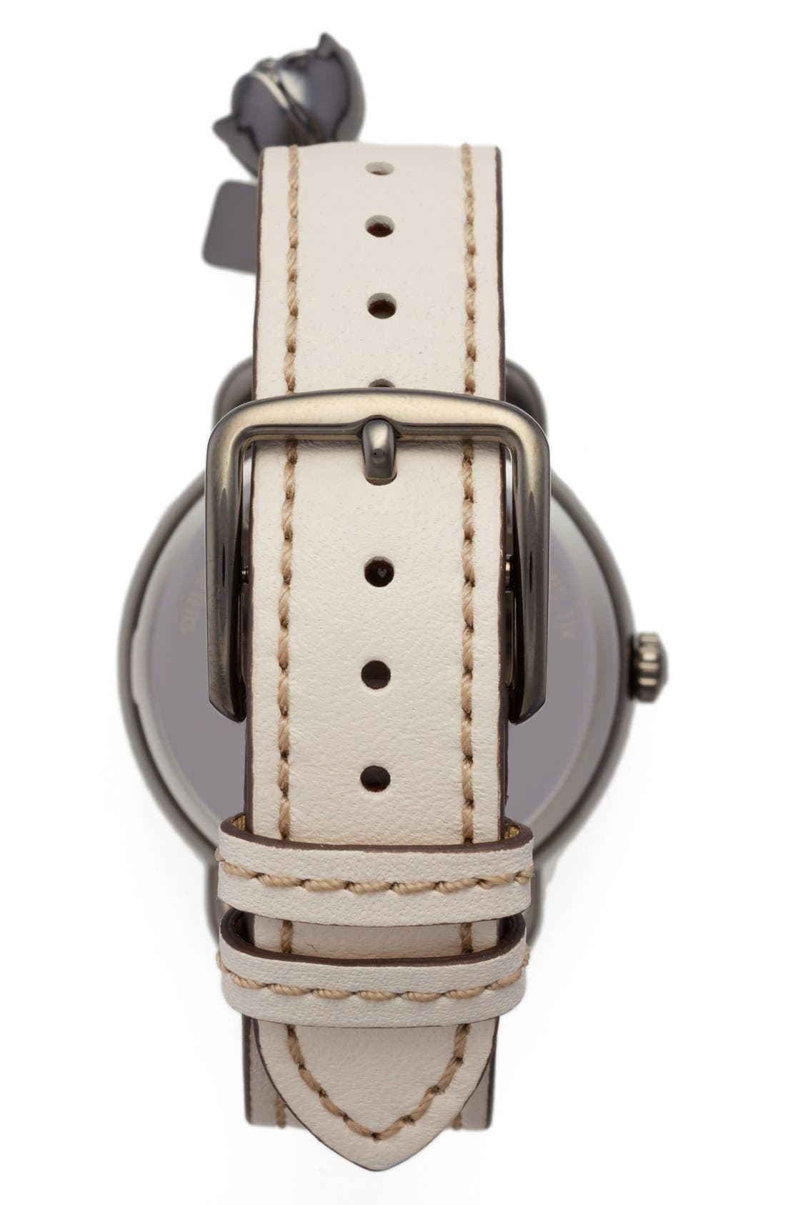 COACH,                             Delancey Leather Strap Watch, 36mm,                             Alternate thumbnail 3, color,                             110