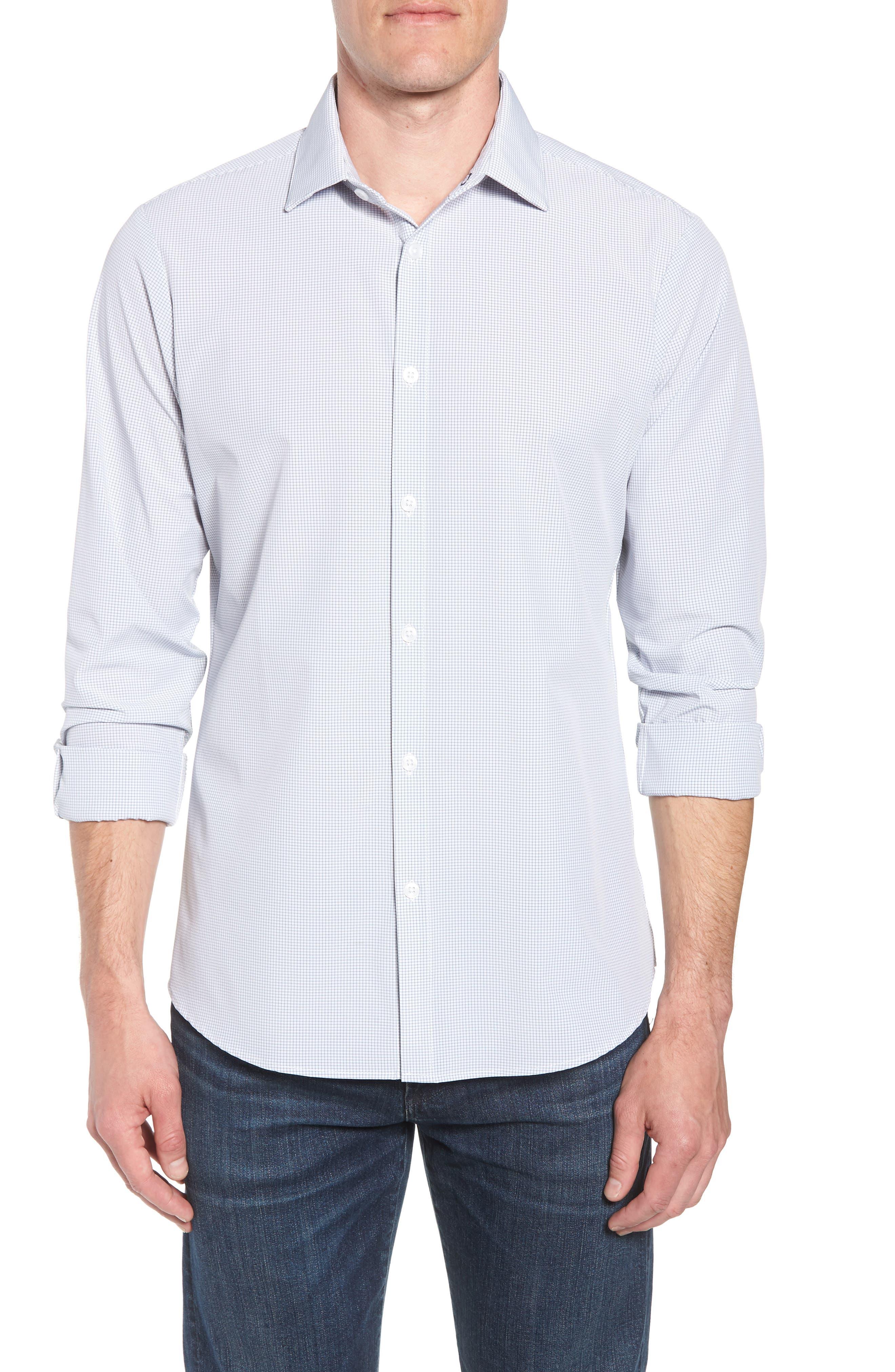 Marion Trim Fit Grid Performance Sport Shirt,                         Main,                         color, 052
