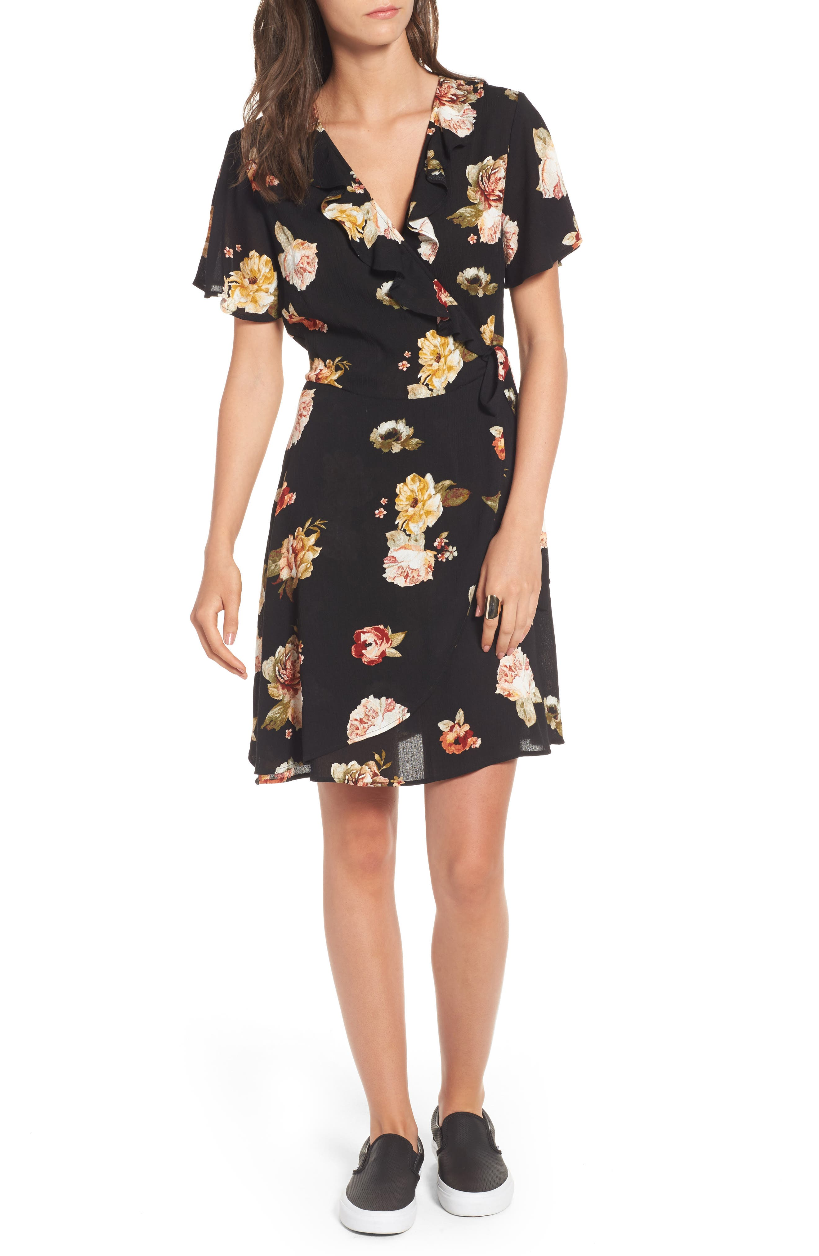 LOVE, FIRE Floral Gauze Wrap Dress, Main, color, 001