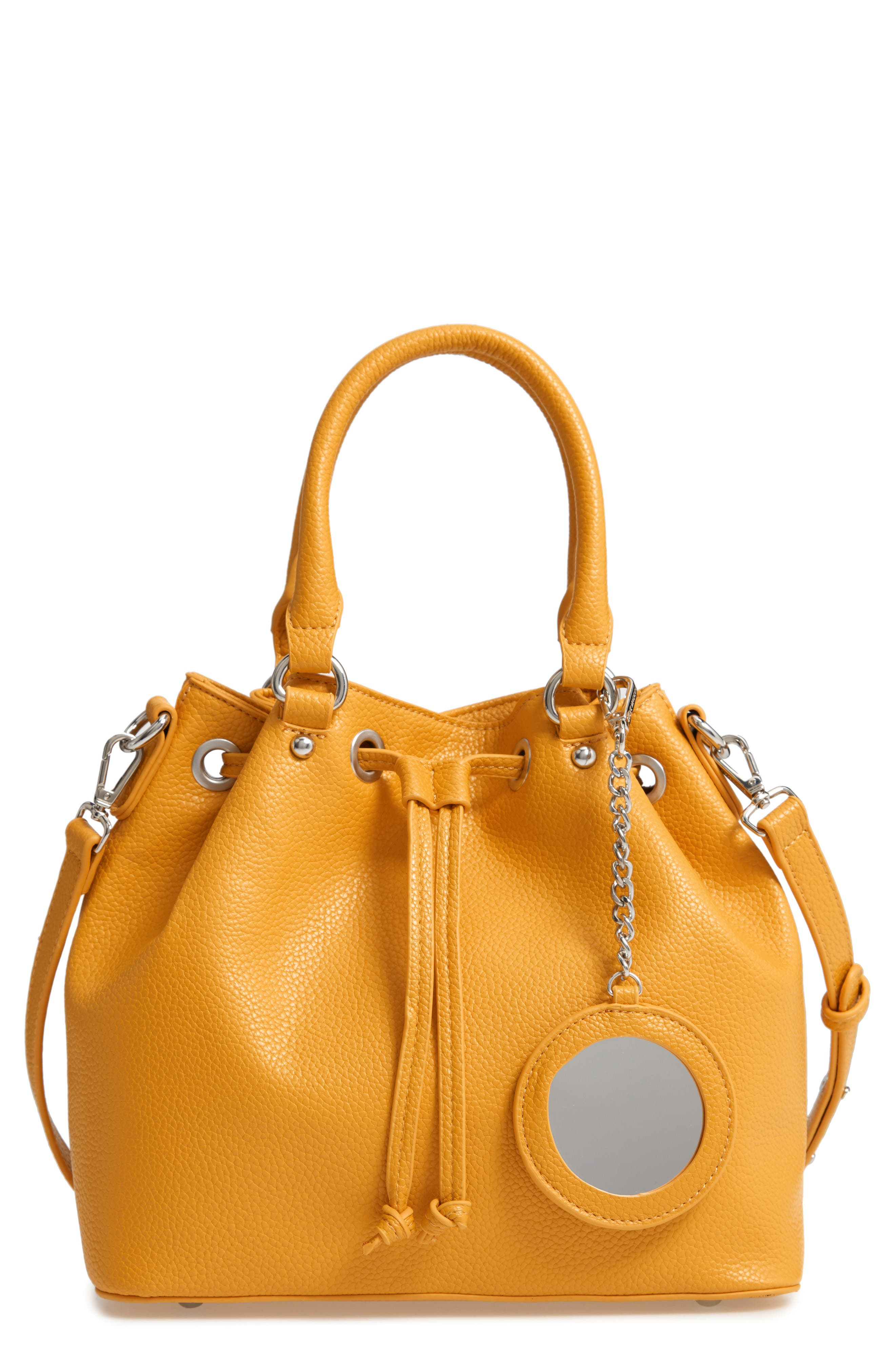 Baudrie Faux Leather Satchel,                             Main thumbnail 1, color,                             MUSTARD