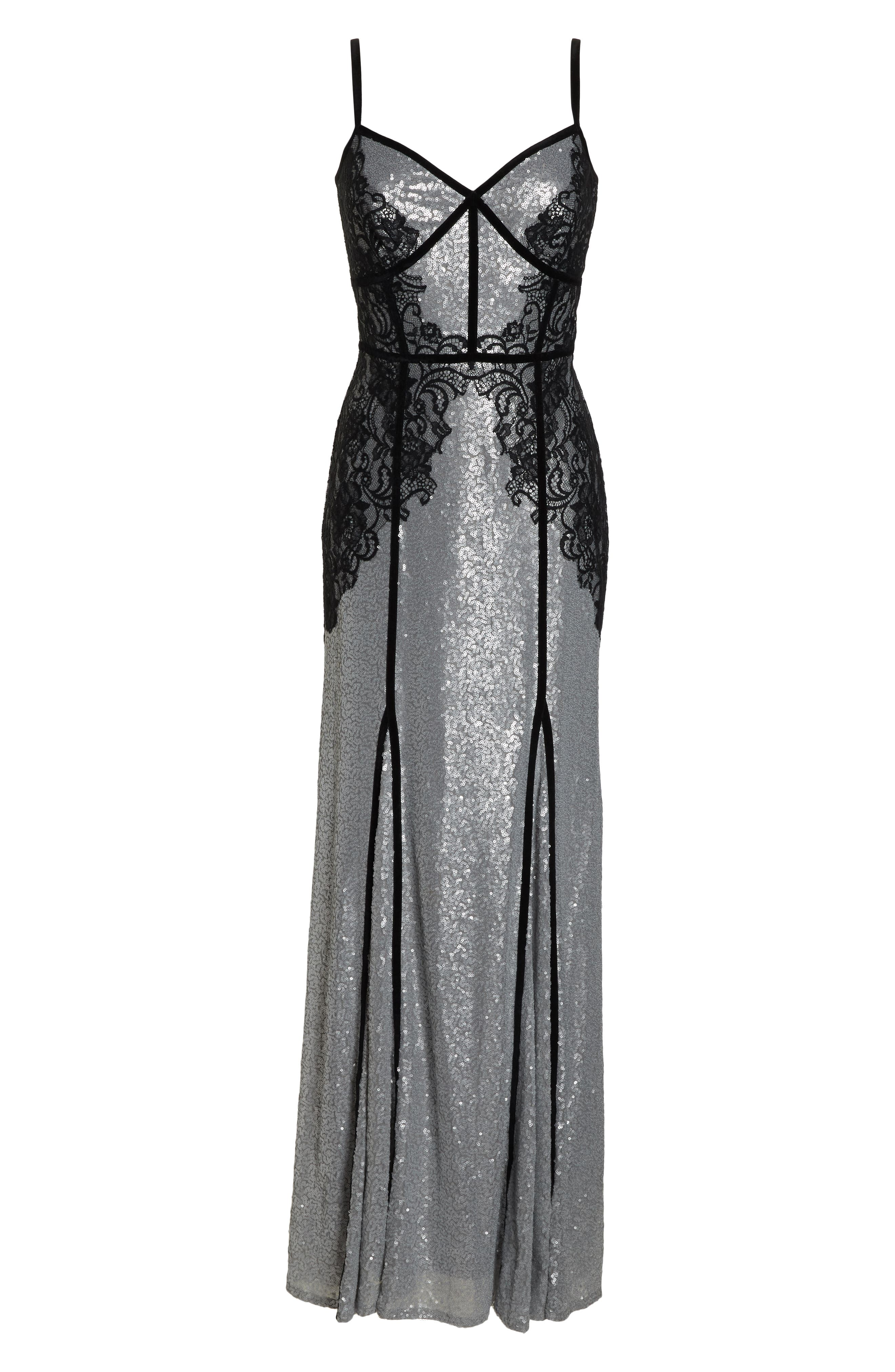 Sleeveless Sequin & Lace Gown,                             Alternate thumbnail 7, color,                             SILVER/ BLACK