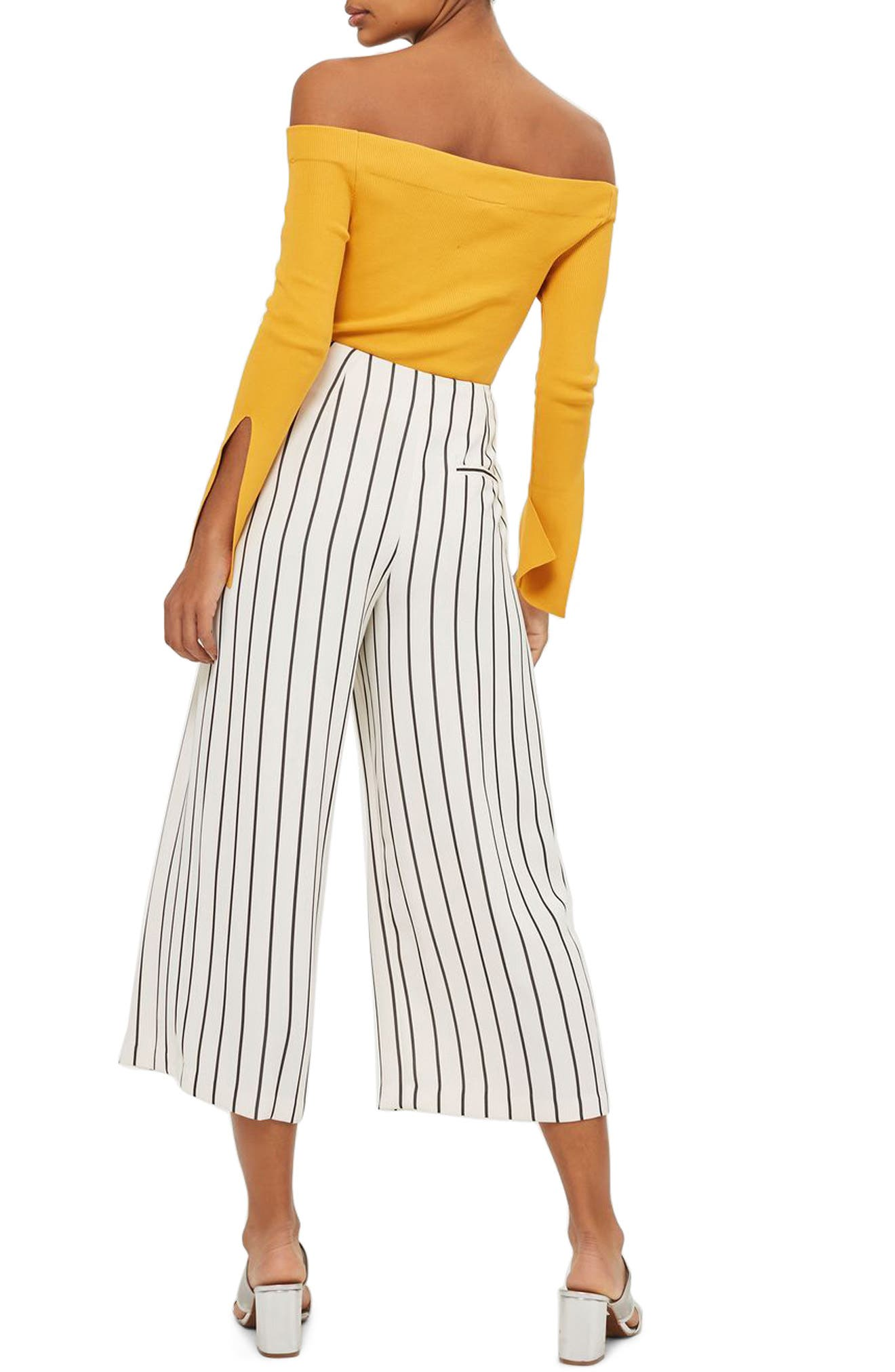 Stripe Crop Wide Leg Trousers,                             Alternate thumbnail 2, color,                             001
