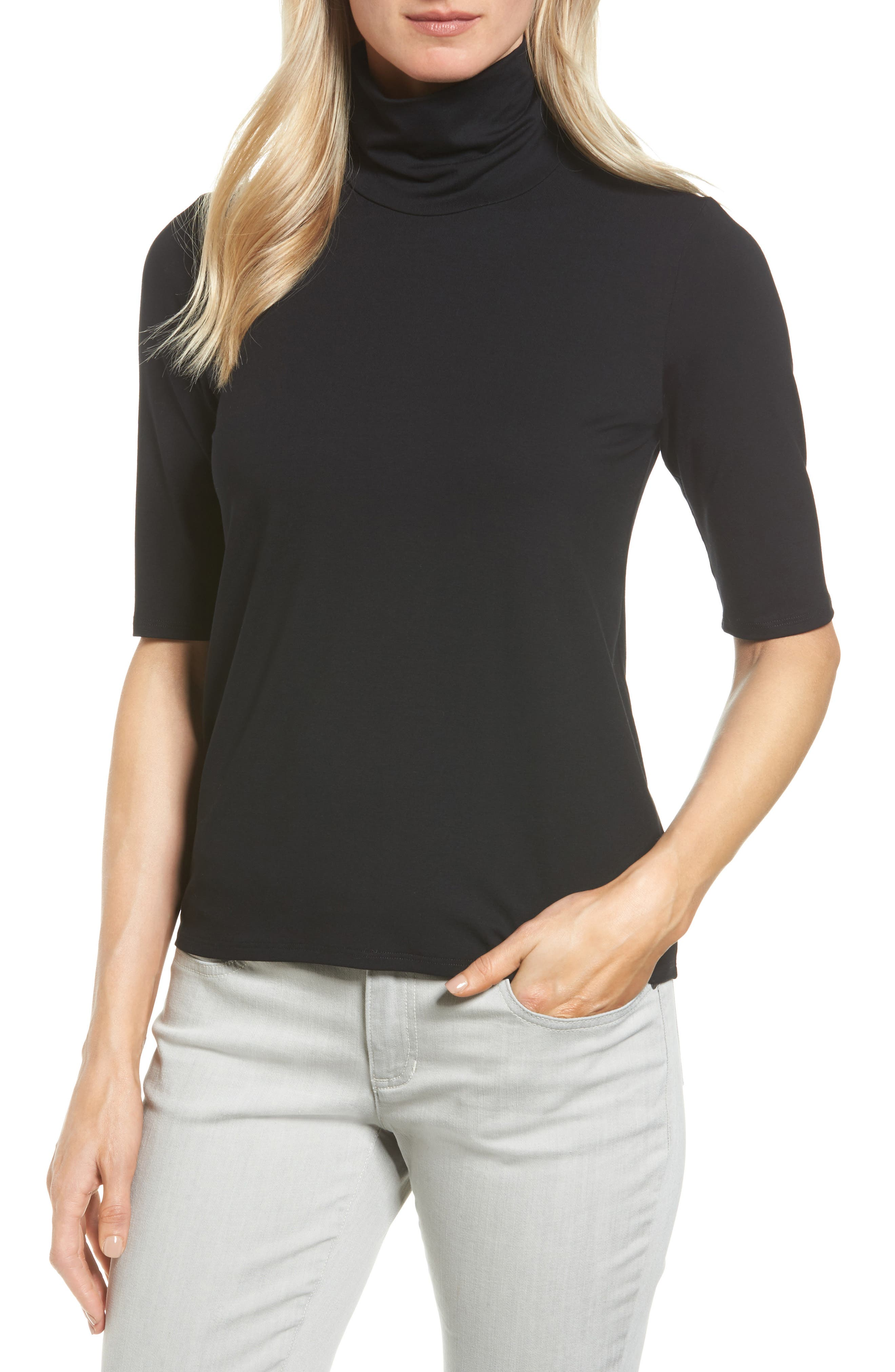 Scrunch Neck Jersey Top,                             Alternate thumbnail 6, color,