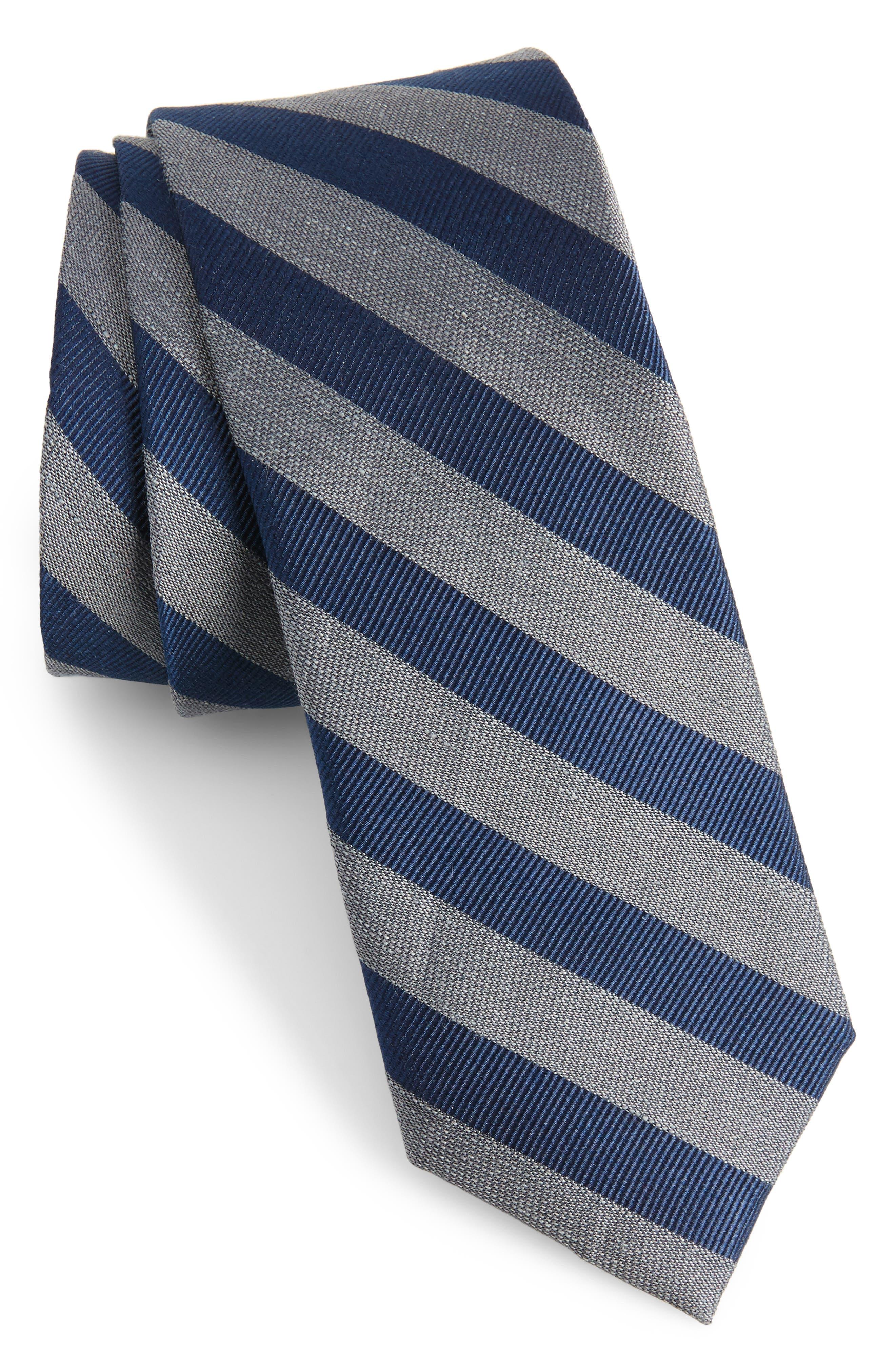 Lumber Stripe Silk & Linen Tie,                         Main,                         color, 030