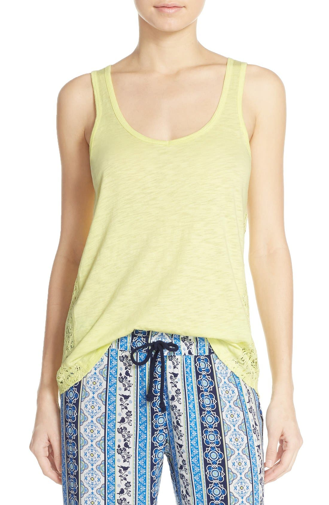 Lace Inset Jersey Tank,                             Alternate thumbnail 4, color,                             325