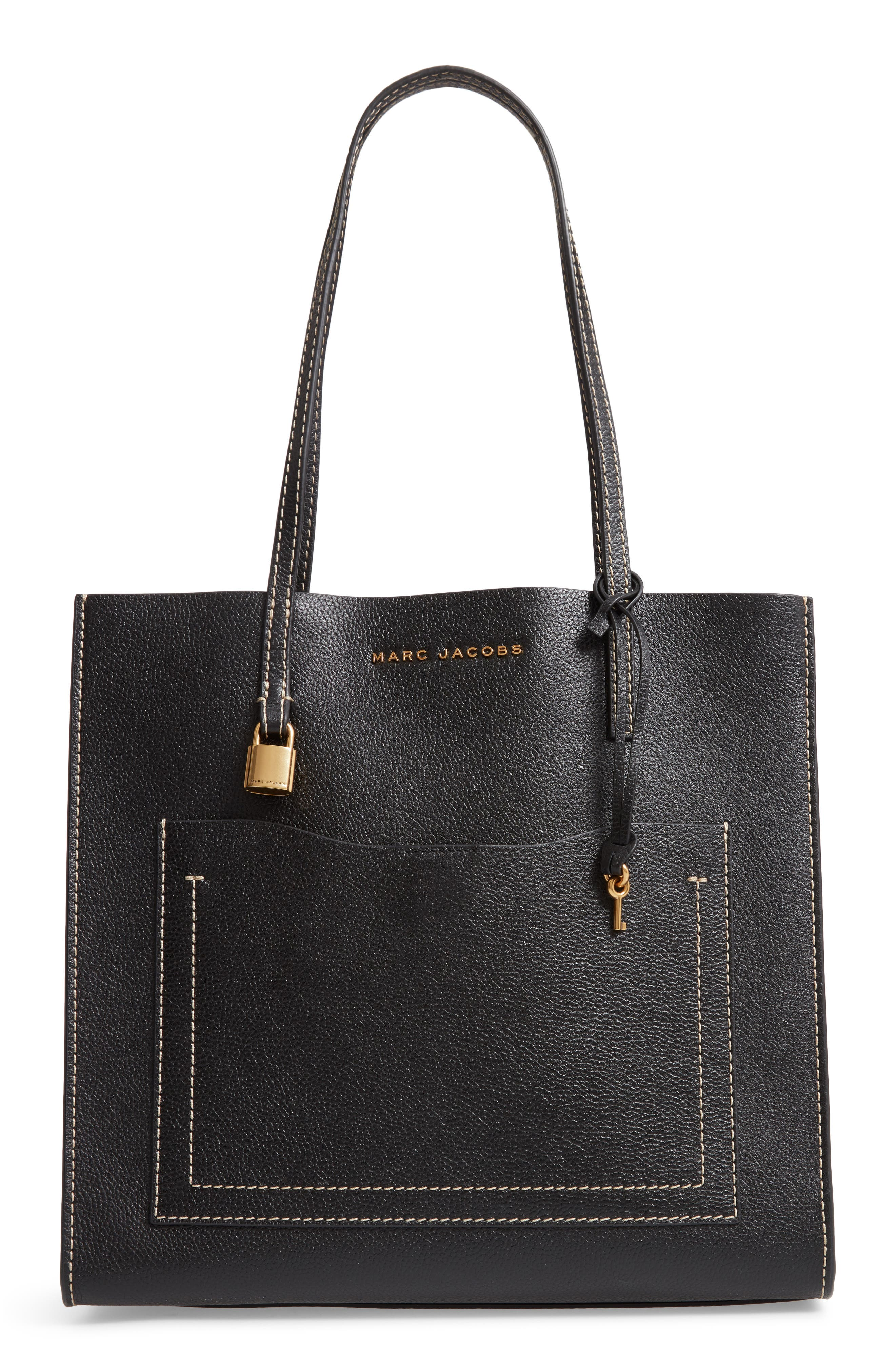 The Grind Leather Tote, Main, color, BLACK/ DARK CHERRY
