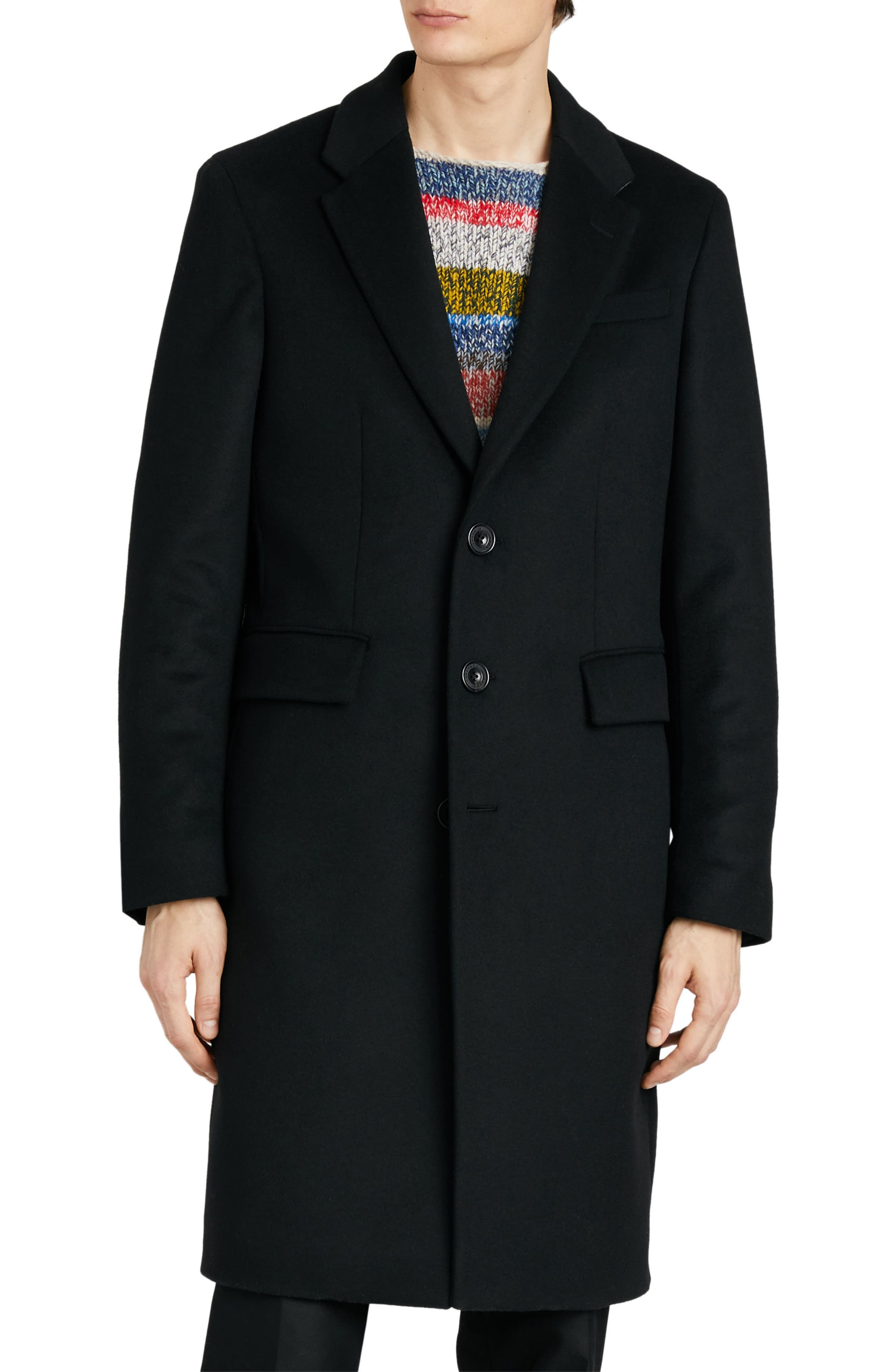 BURBERRY,                             Halesowen Wool and Cashmere Overcoat,                             Main thumbnail 1, color,                             001