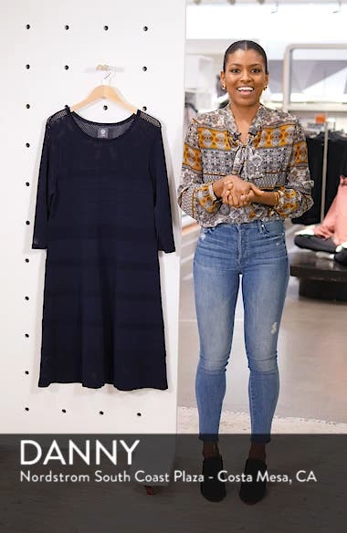 Mixed Stitch Pointelle Fit & Flare Dress, sales video thumbnail