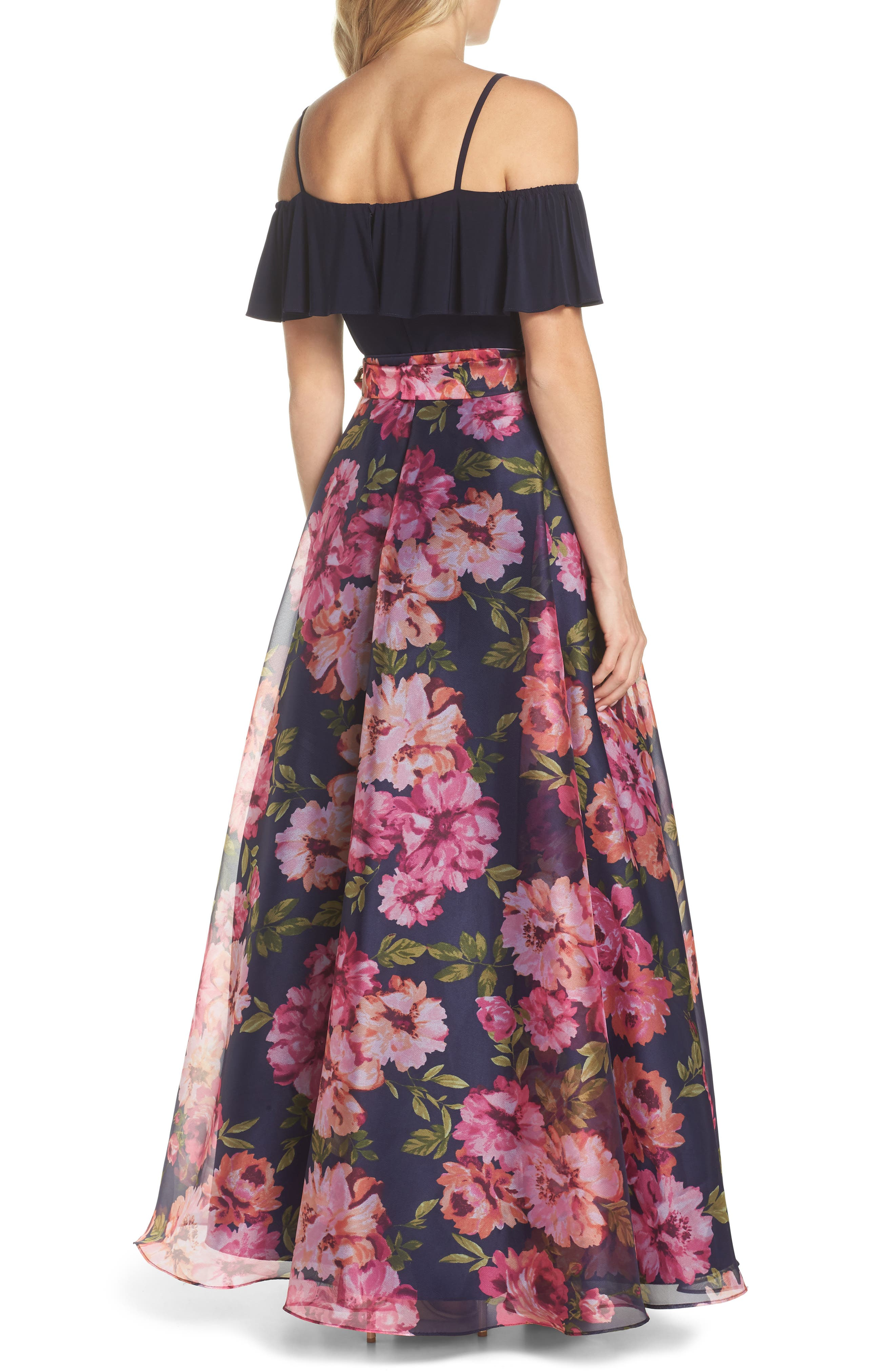 Cold Shoulder Ruffle Gown,                             Alternate thumbnail 2, color,                             NAVY MULTI