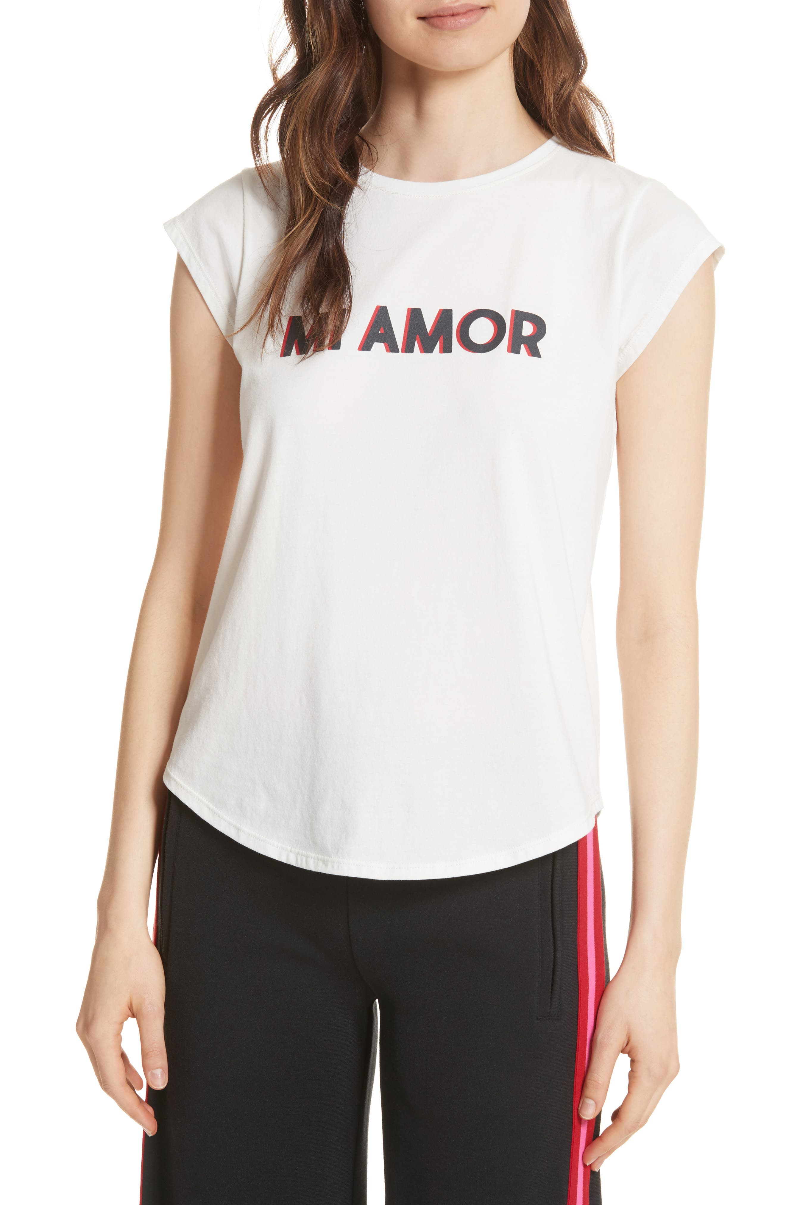 Dillion C Mi Amor Tee,                         Main,                         color, PORCELAIN