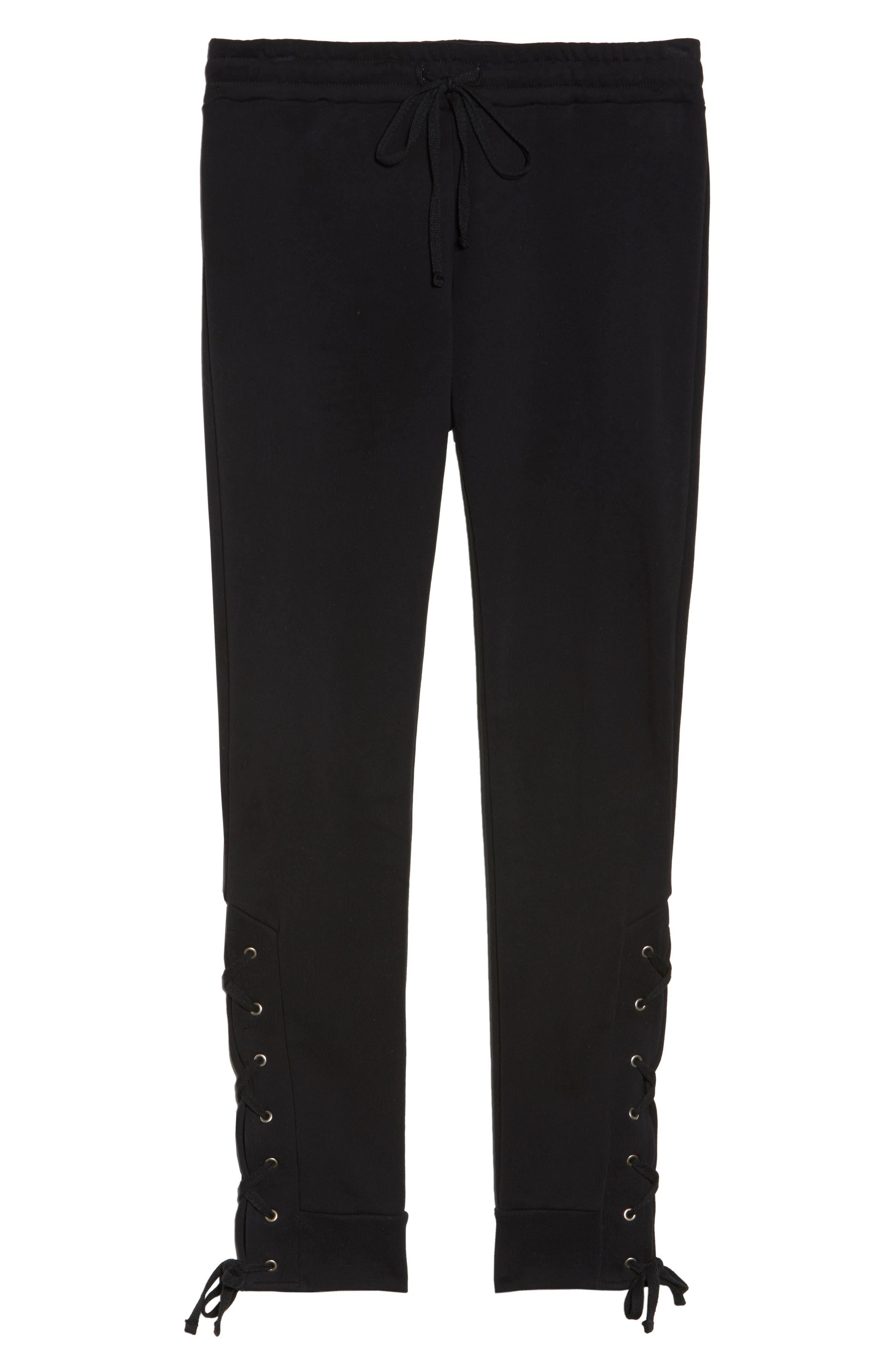 Lace Up Lounge Pants,                             Alternate thumbnail 6, color,                             001