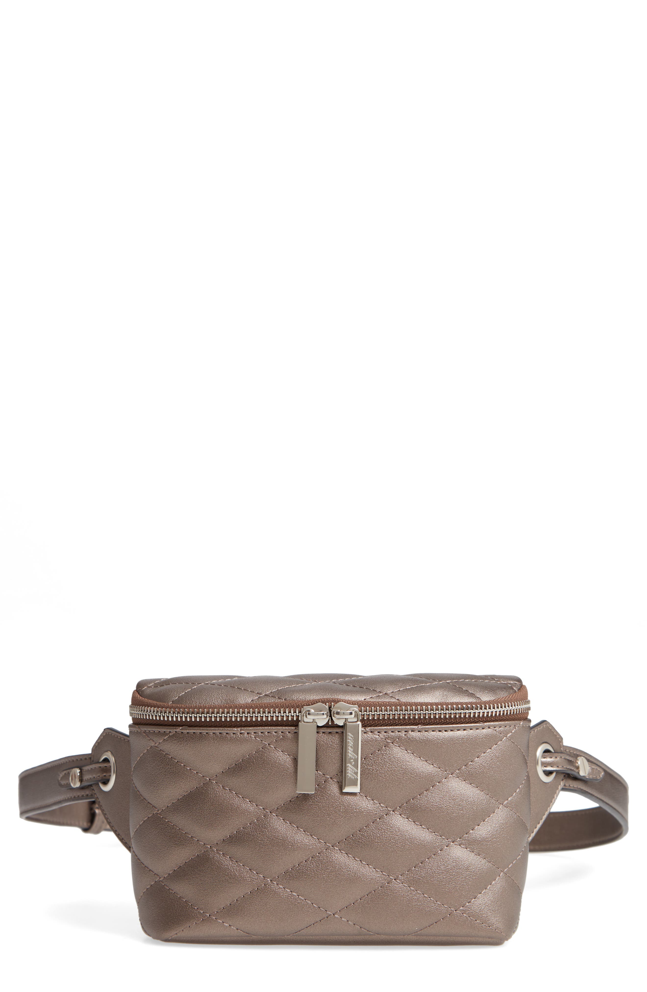 MALI + LILI,                             Faye Vegan Leather Quilted Belt Bag,                             Main thumbnail 1, color,                             PEWTER