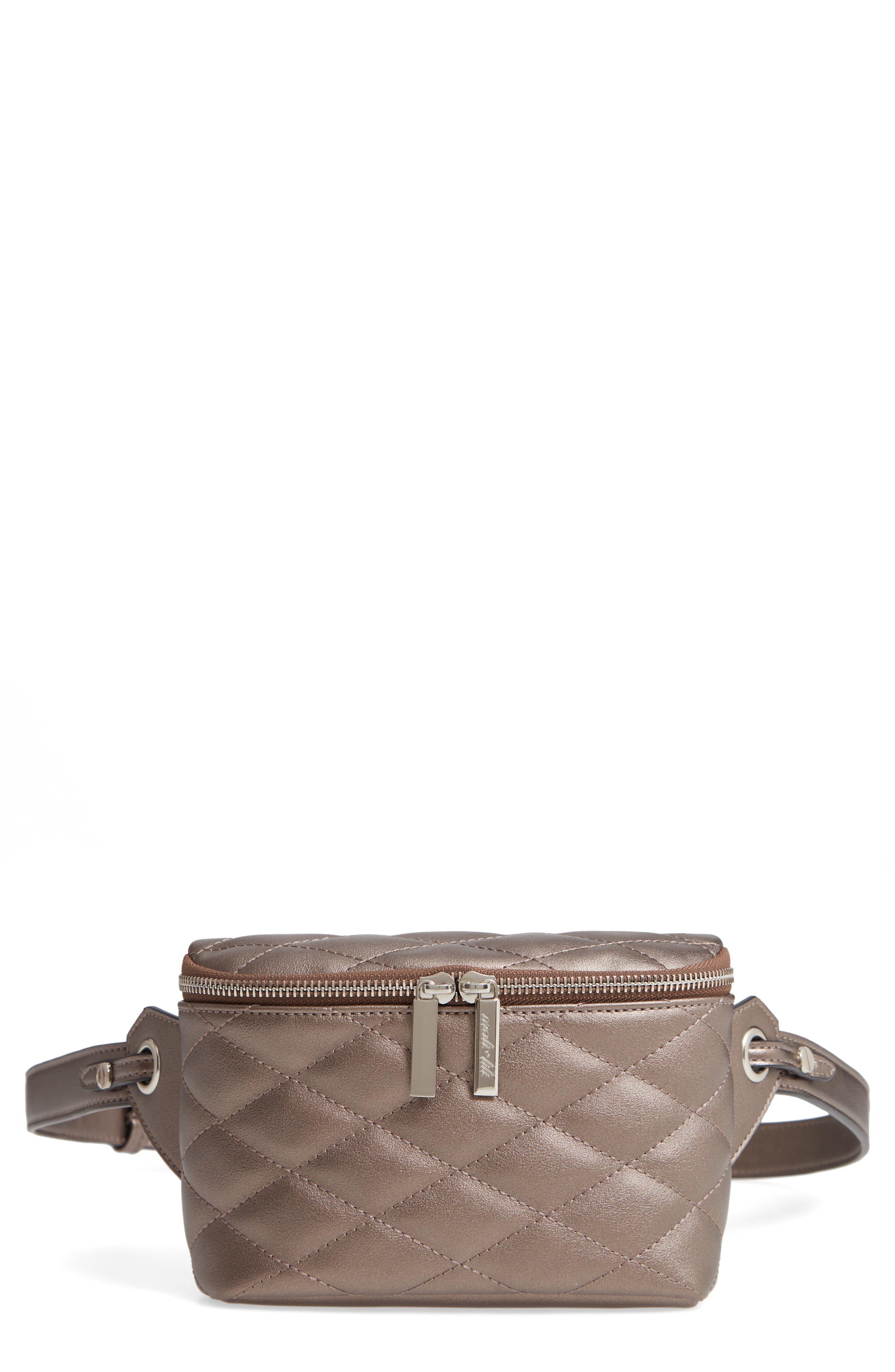 MALI + LILI Faye Vegan Leather Quilted Belt Bag, Main, color, PEWTER