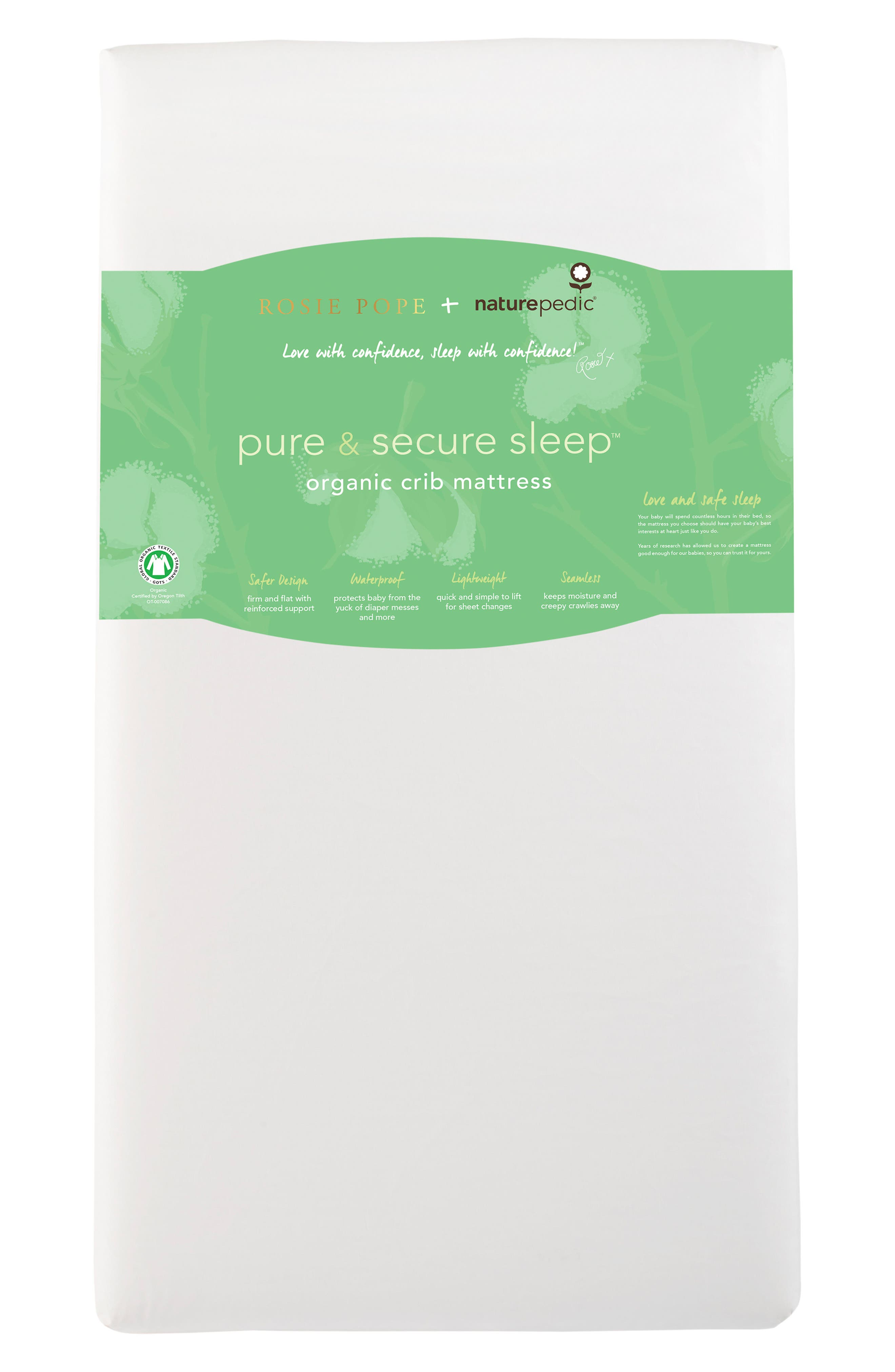x Rosie Pope Pure & Secure Sleep Crib Mattress,                             Alternate thumbnail 2, color,                             100
