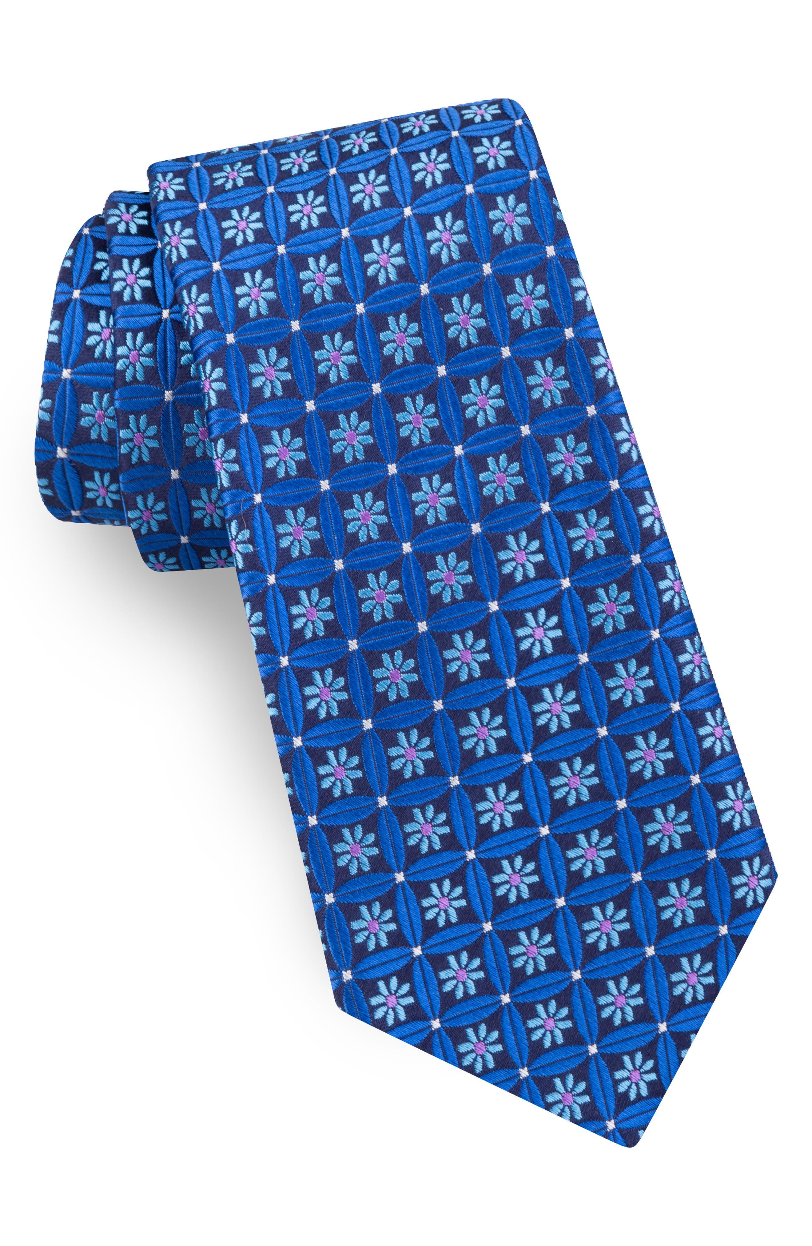 Flower Lattice Silk Tie,                         Main,                         color, NAVY