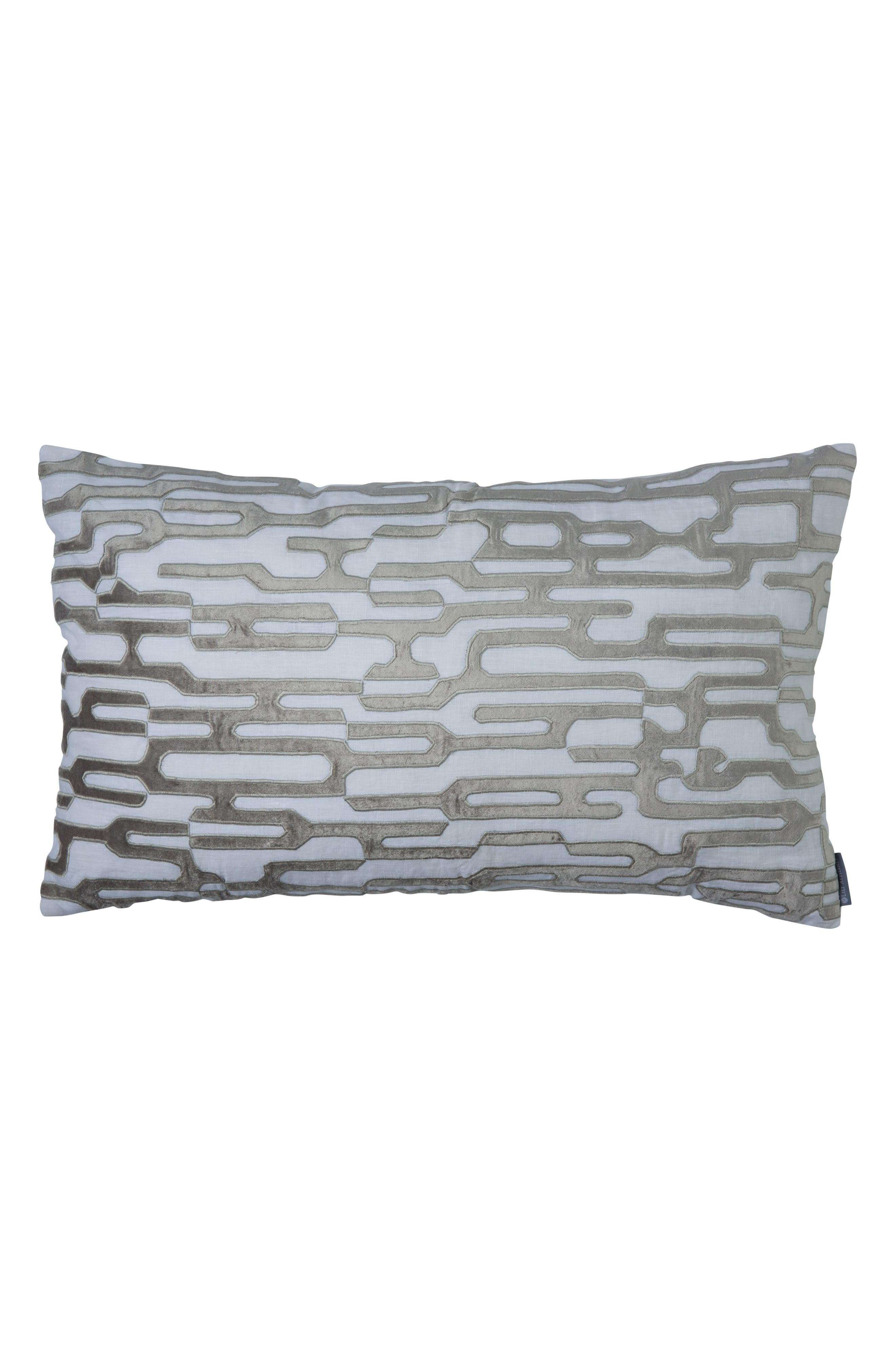 Christian Large Linen Velvet Accent Pillow,                             Main thumbnail 1, color,                             GRAY