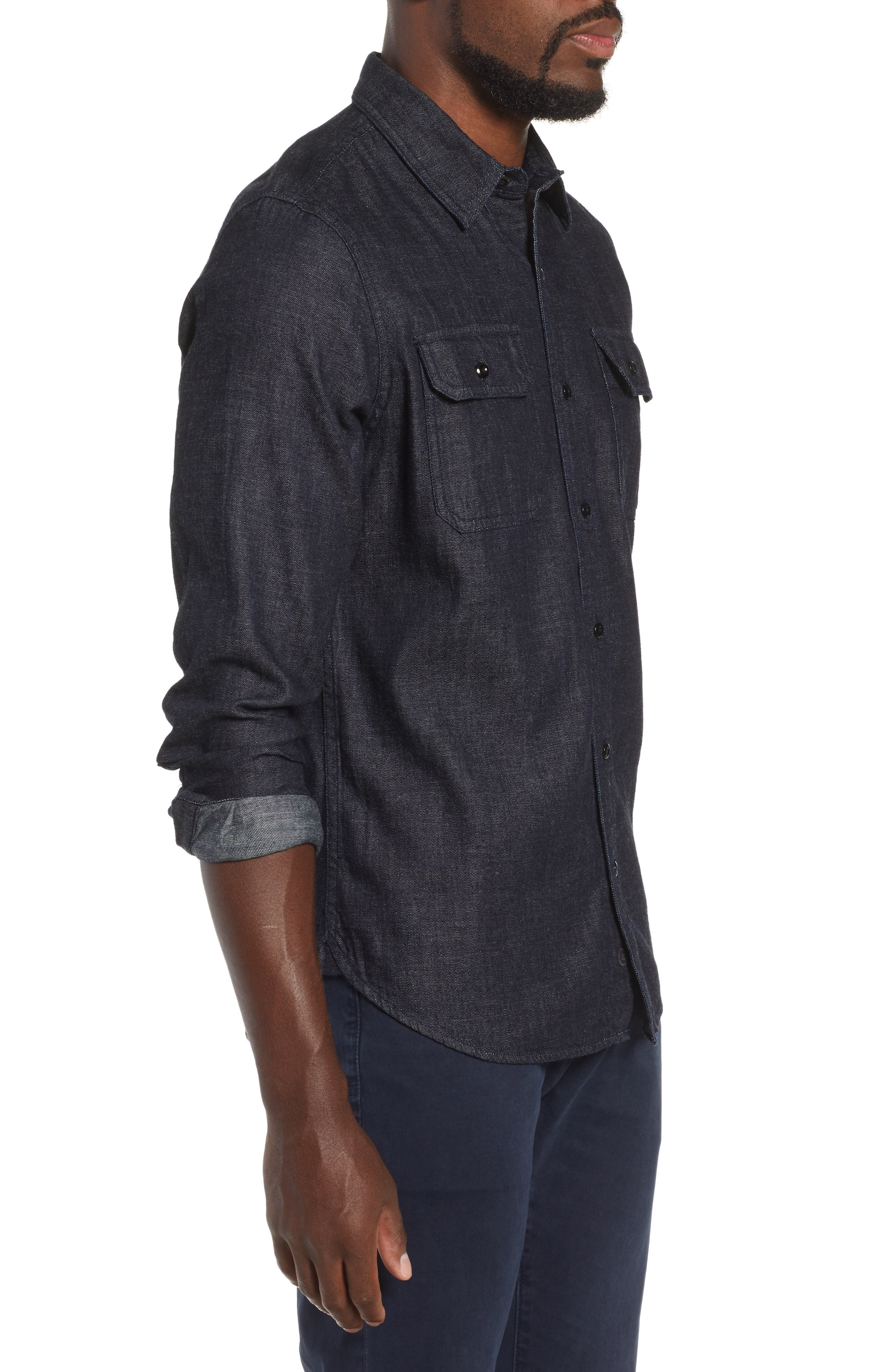 Benning Chambray Slim Fit Utility Shirt,                             Alternate thumbnail 4, color,                             020