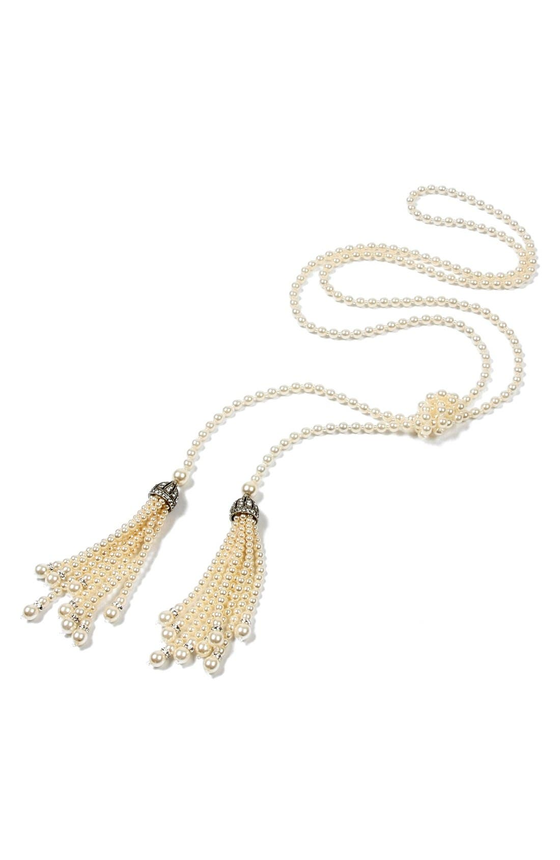 Glass Pearl Tassel Necklace,                         Main,                         color, IVORY
