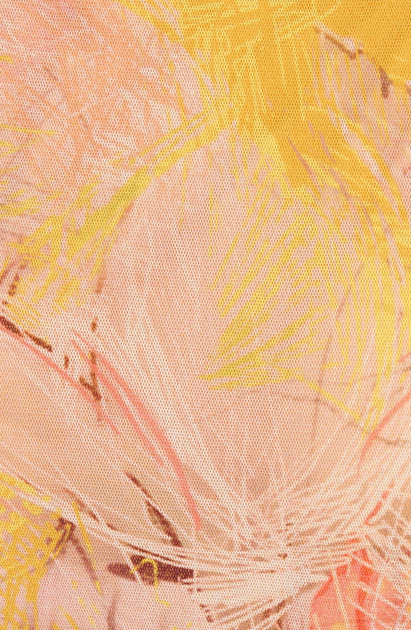 Print Tulle Ruffle Wrap Dress,                             Alternate thumbnail 5, color,                             723