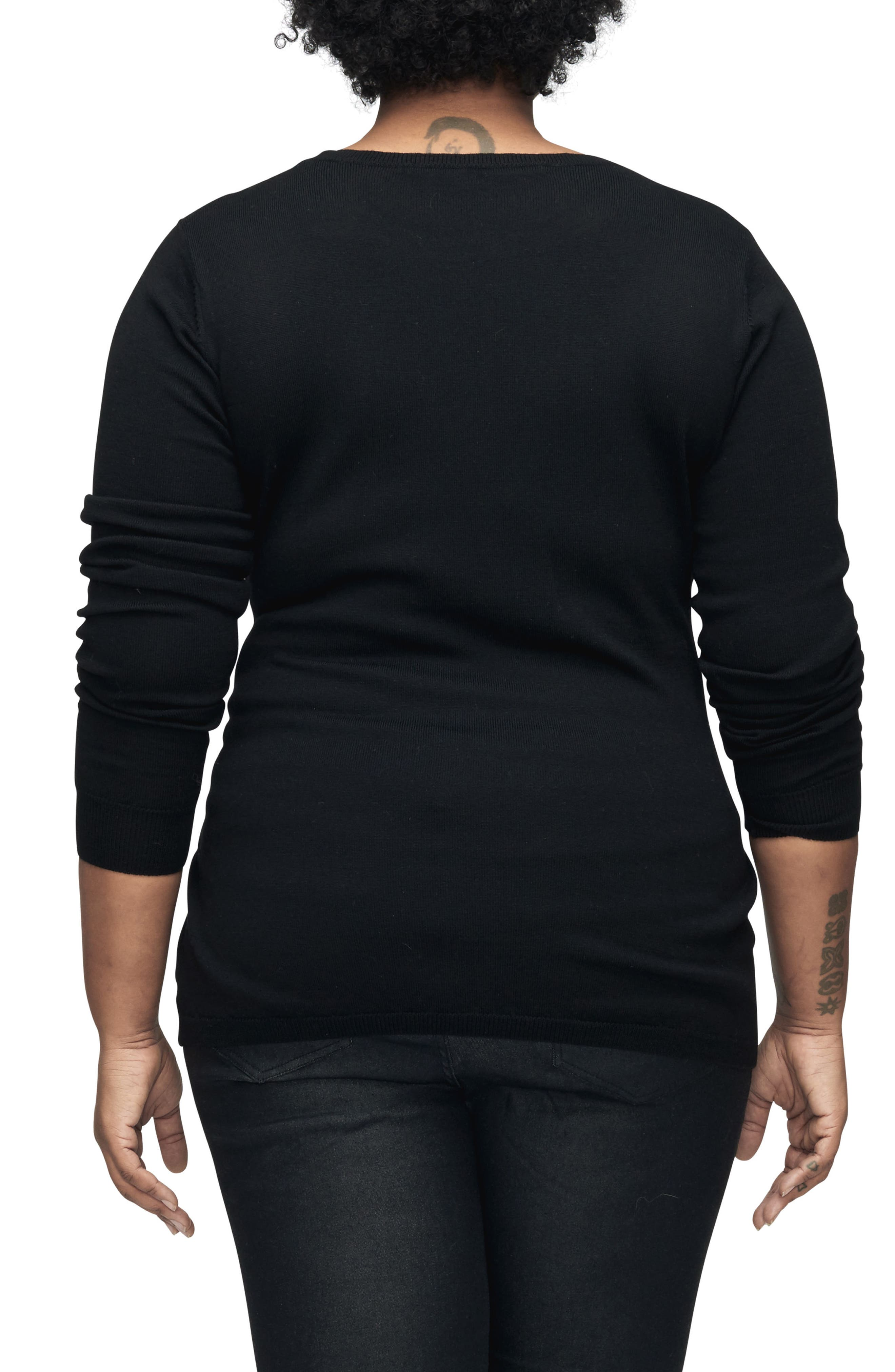 Mae Tie Front Sweater,                             Alternate thumbnail 3, color,