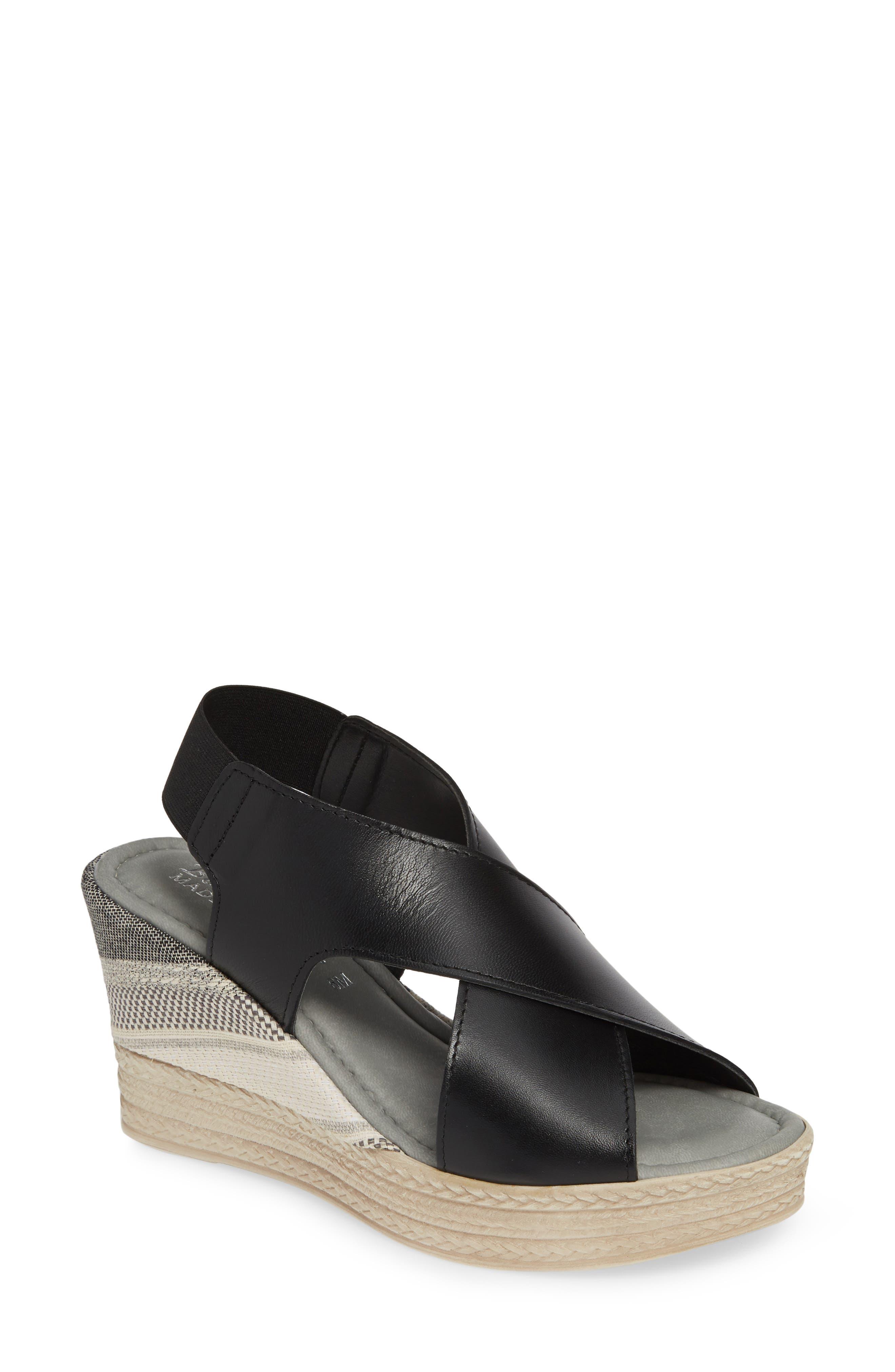 Slingback Sandal,                             Main thumbnail 1, color,                             BLACK ITALIAN LEATHER