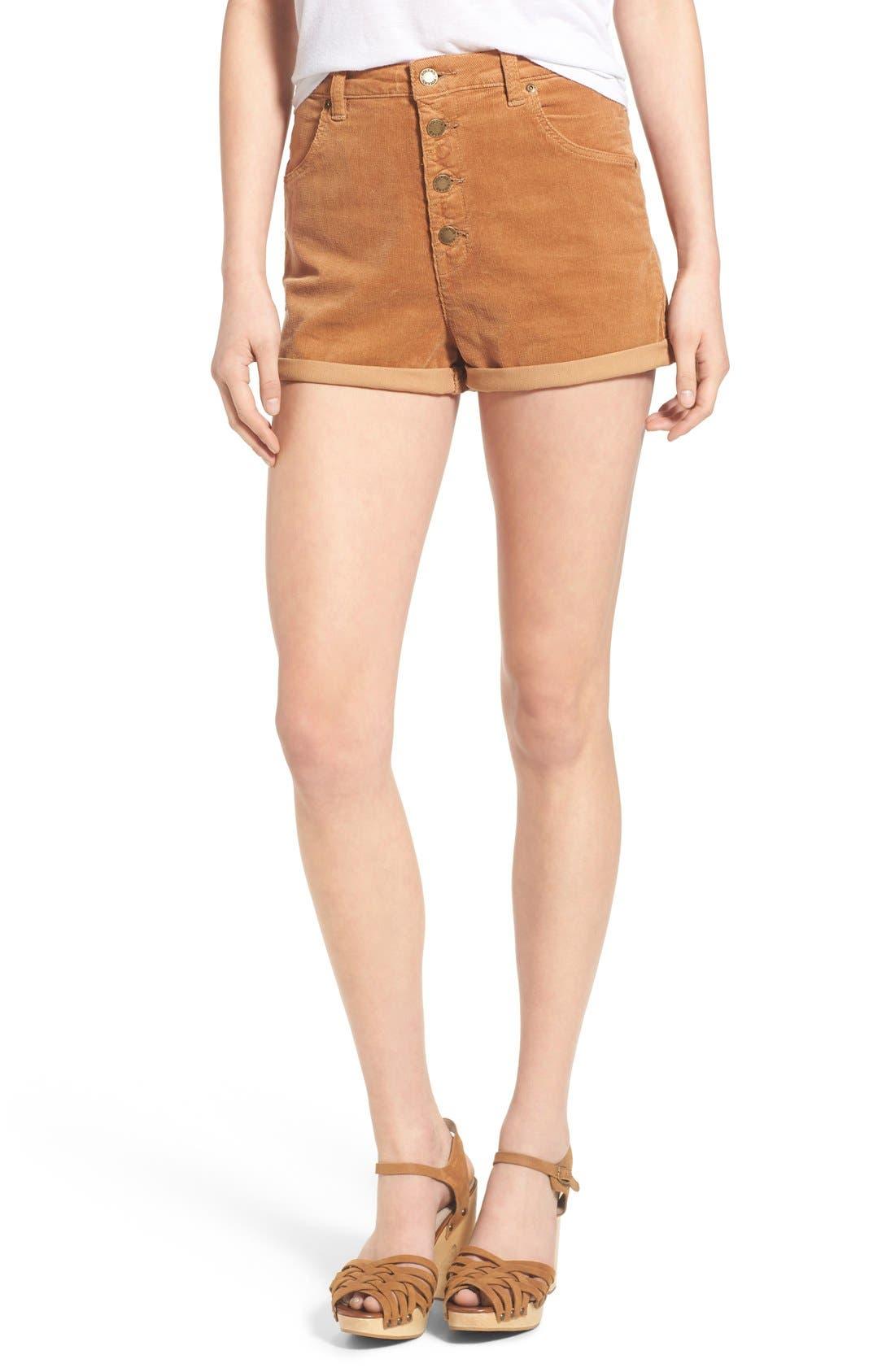 Corduroy Roll Cuff Shorts, Main, color, 200