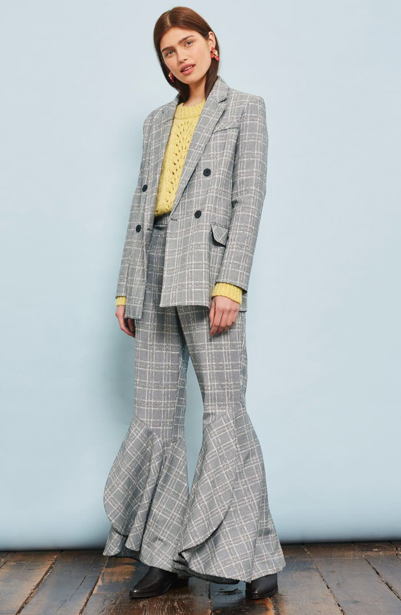 Checked Super Flare Trousers,                             Alternate thumbnail 4, color,                             021
