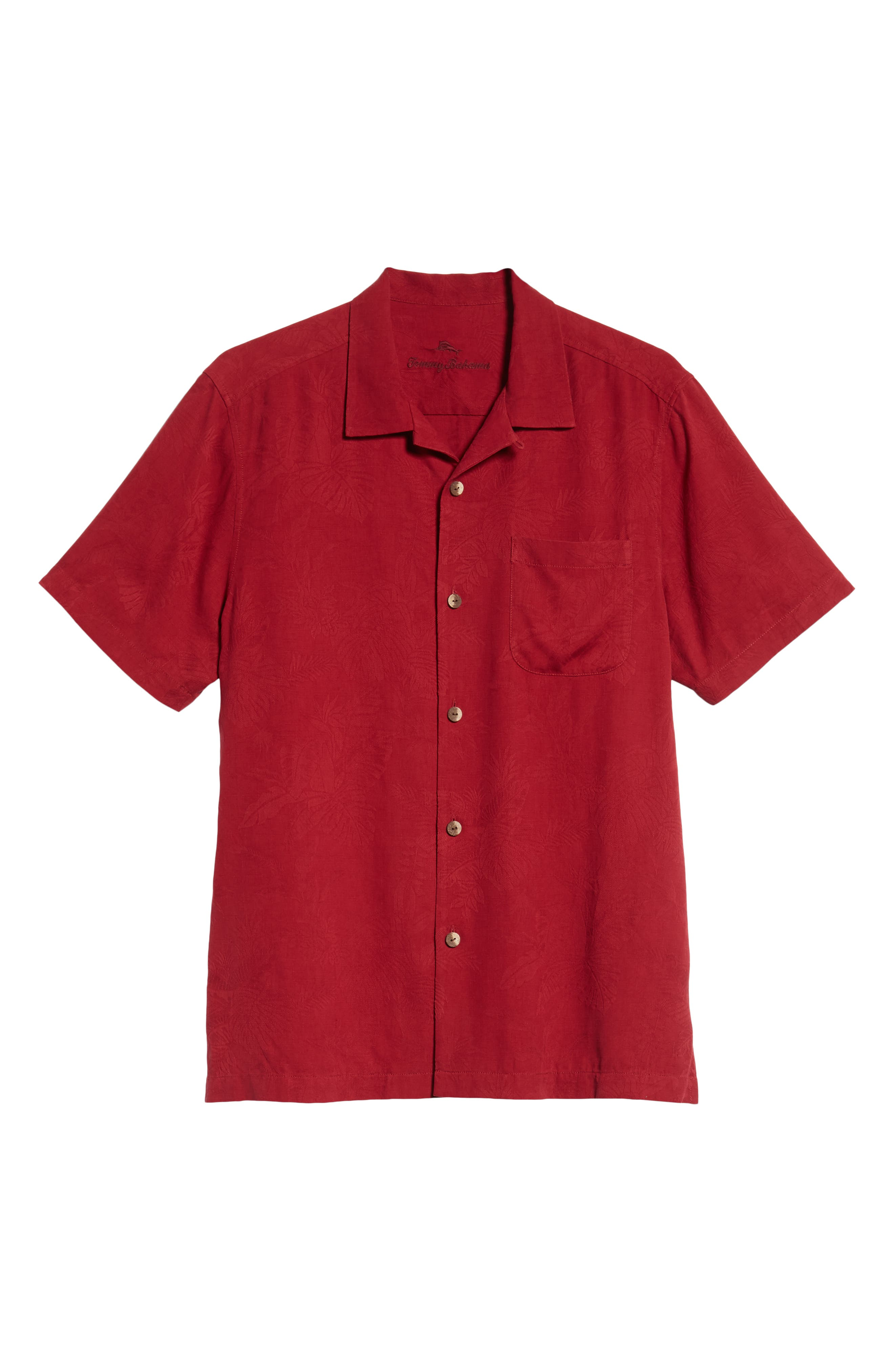 St Lucia Fronds Silk Camp Shirt,                             Alternate thumbnail 5, color,                             RED/ PLUM RAISIN