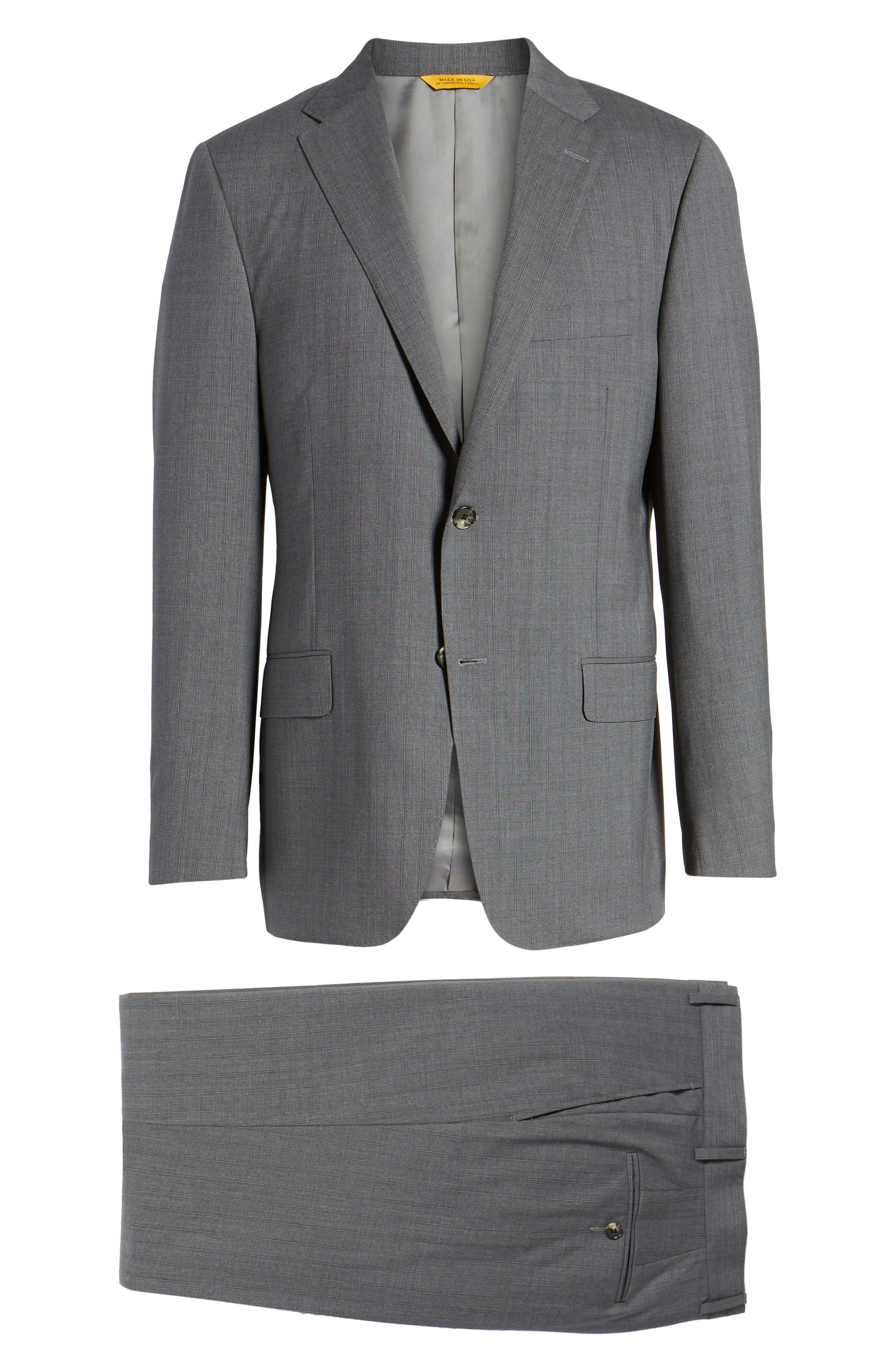 Classic B Fit Stripe Wool Suit,                             Alternate thumbnail 8, color,