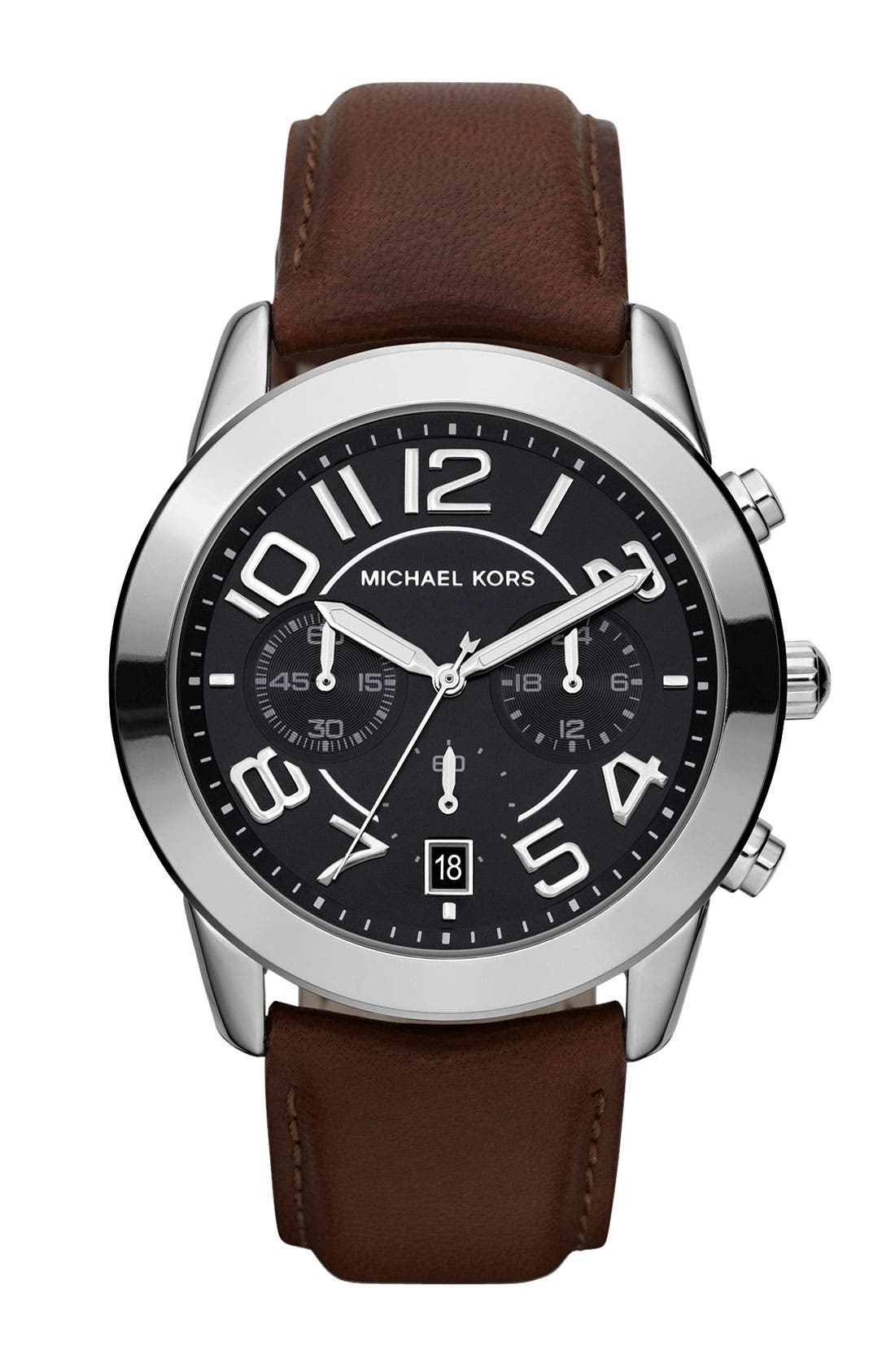 Michael Kors Chronograph Leather Strap Watch, 41mm,                             Main thumbnail 3, color,