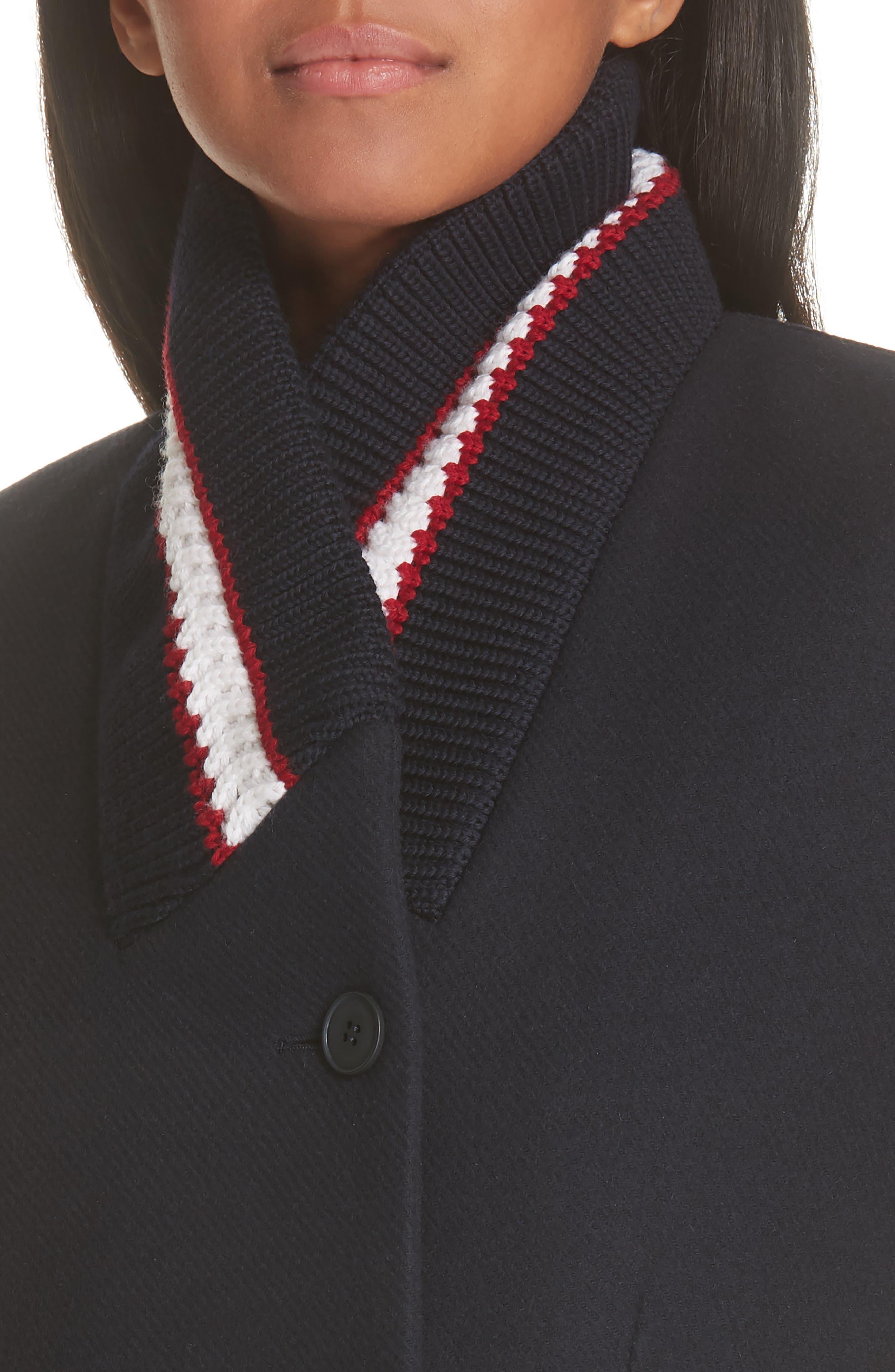 Knit Collar Wool Coat,                             Alternate thumbnail 4, color,                             INK