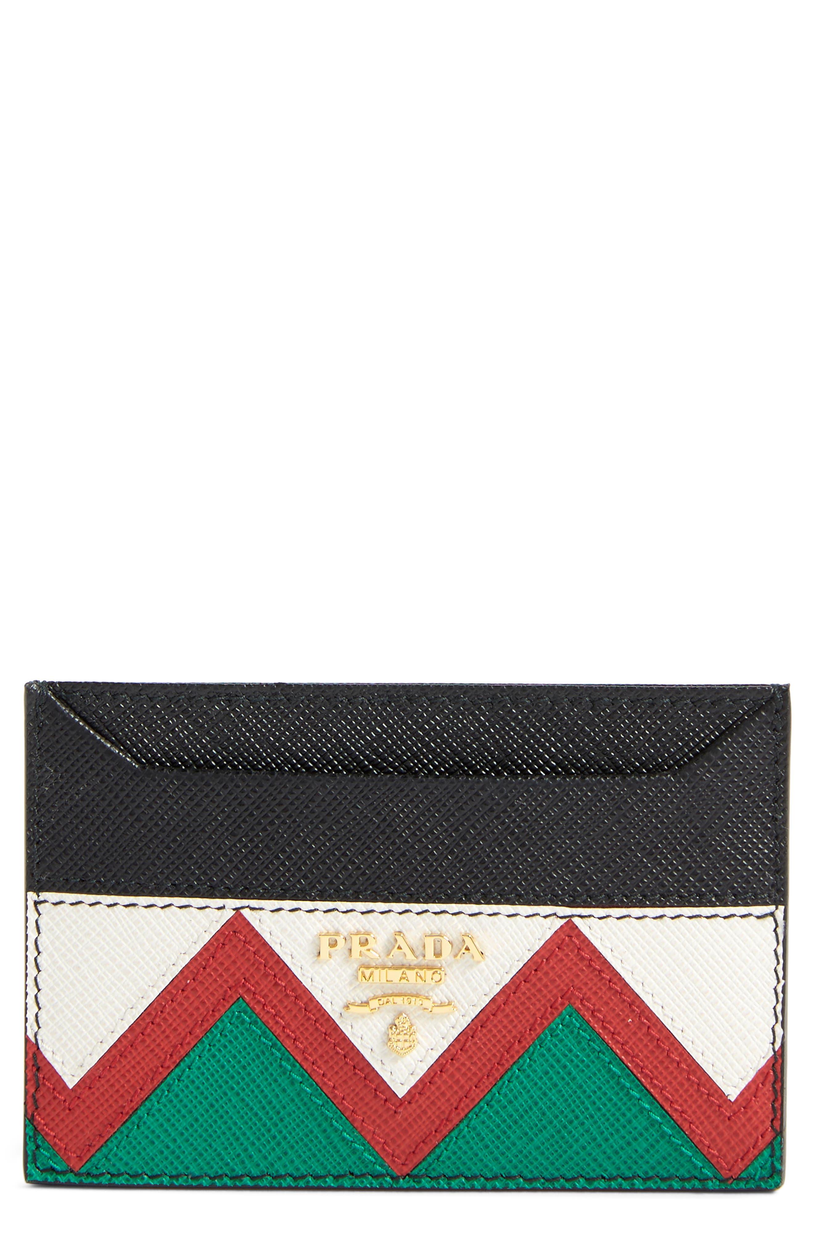 PRADA,                             Saffiano Leather Card Case,                             Main thumbnail 1, color,                             F0N98 NERO/ROSSO